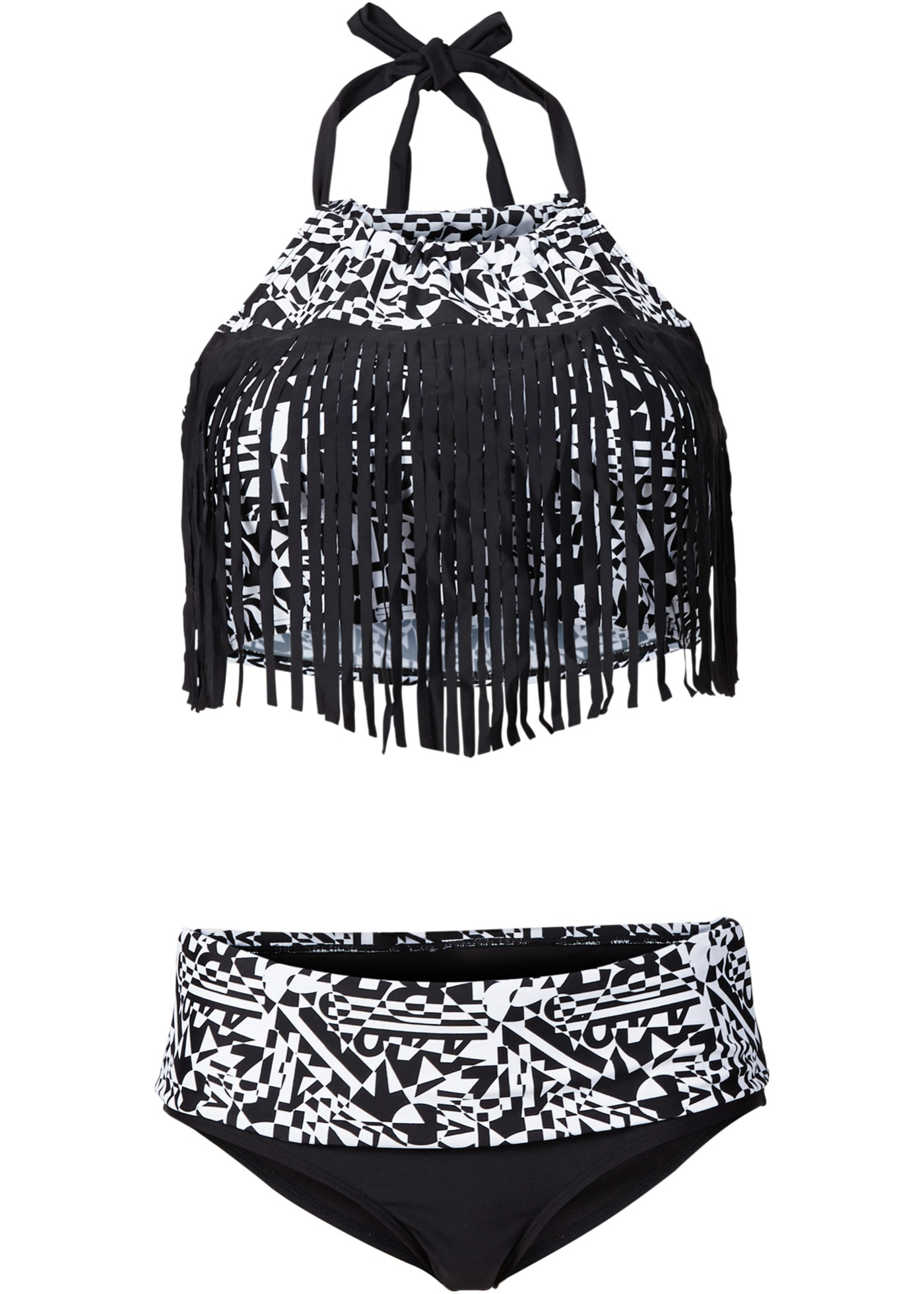 Bademode - Bikini mit Fransen (2 tlg. Set) › bonprix › schwarz  - Onlineshop Bonprix