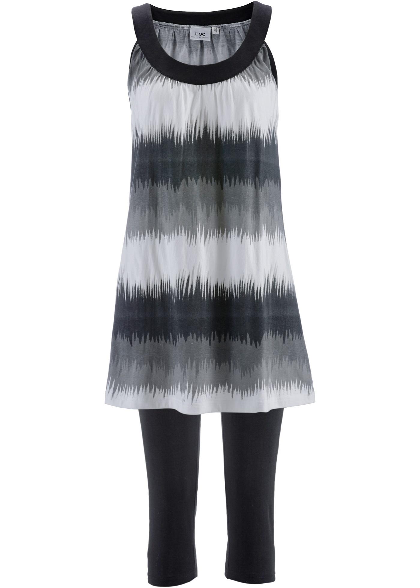 Kleid+Capri-Leggings (2-teiliges Set) ohne Ärmel  in schwarz für Damen von bonprix