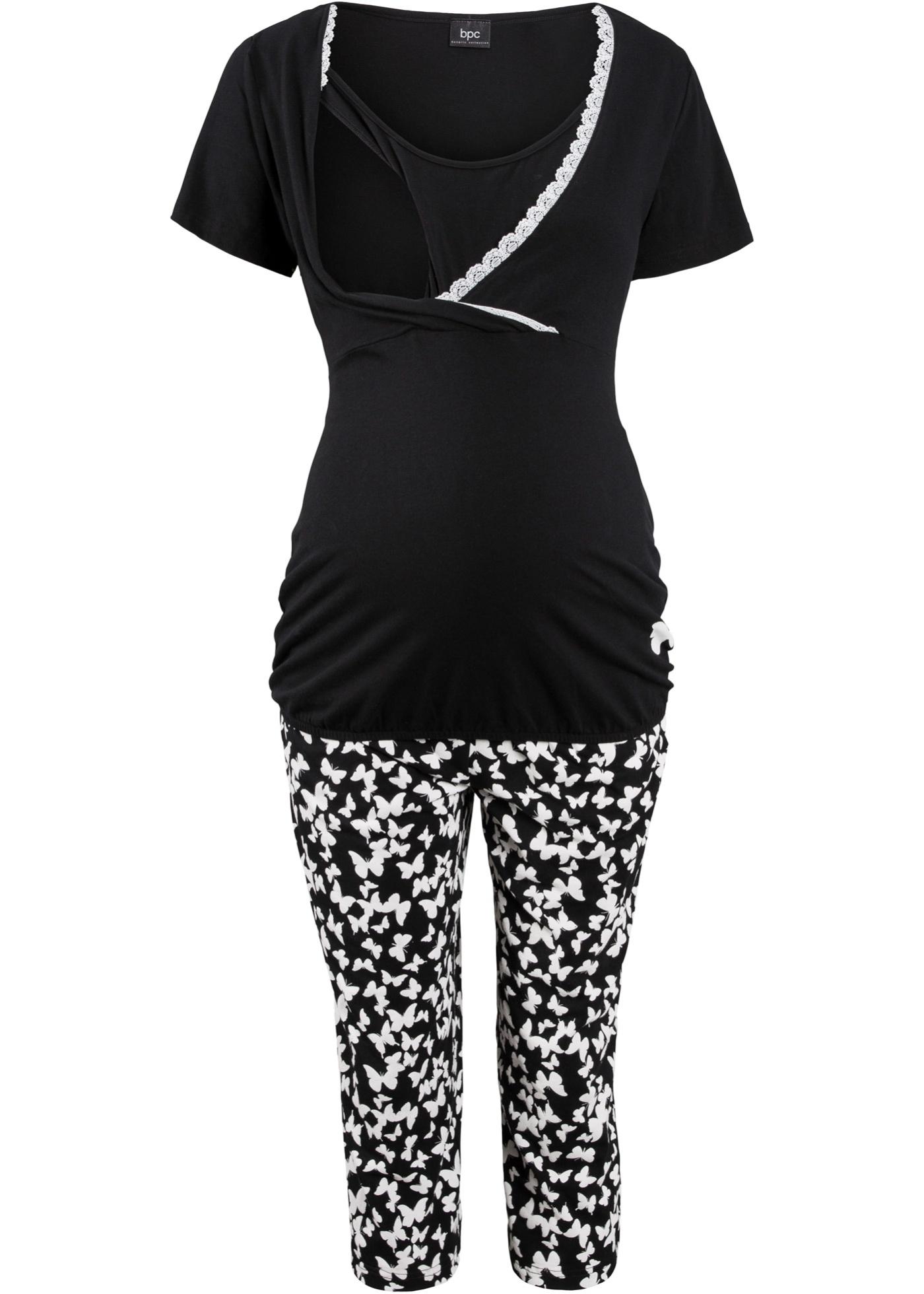 Schwangerschaftsmode - Capri Still Pyjama mit Bio Baumwolle › bonprix › schwarz  - Onlineshop Bonprix