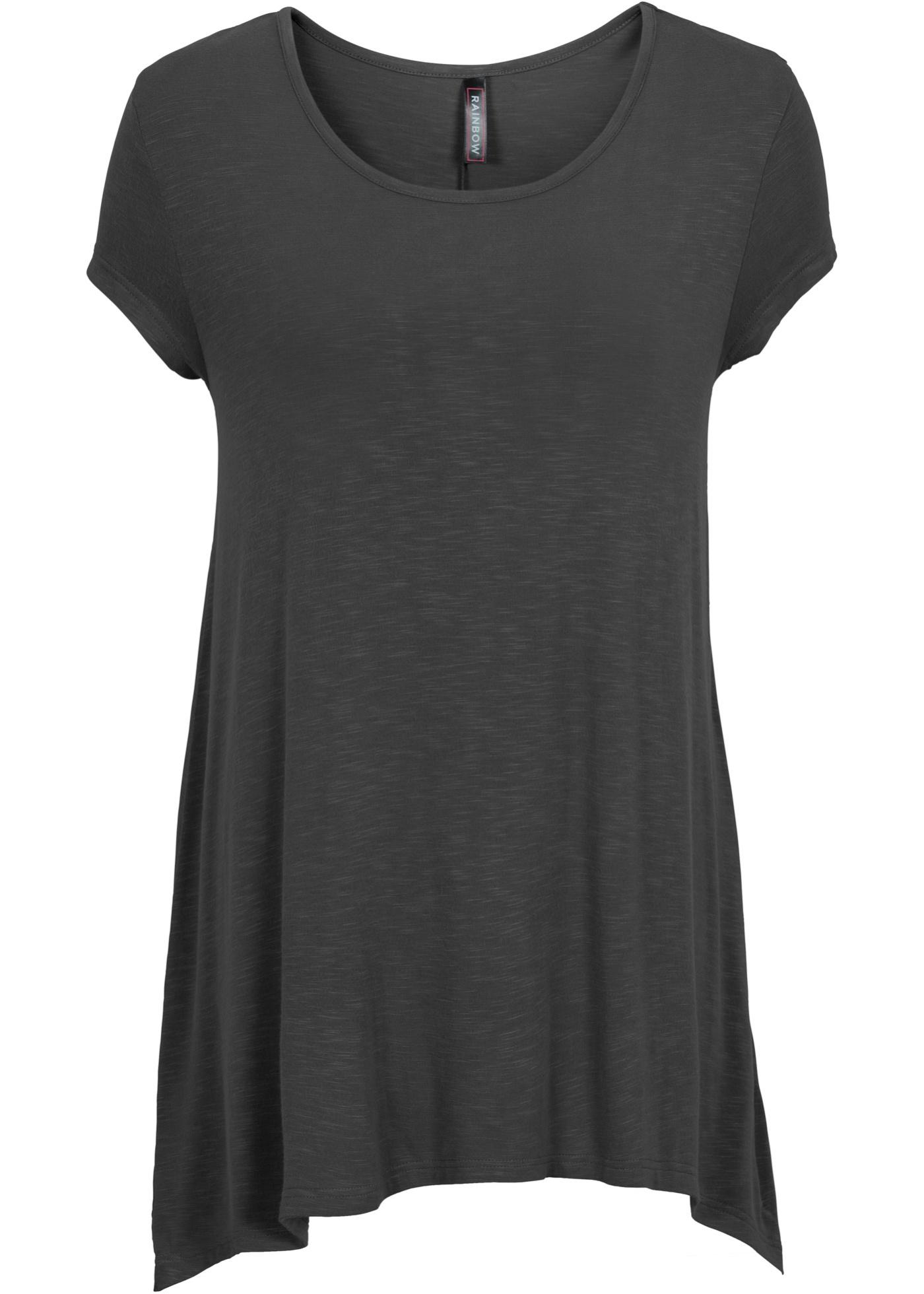Shirt in asymmetrischer Länge kurzer Arm  in grau für Damen von bonprix