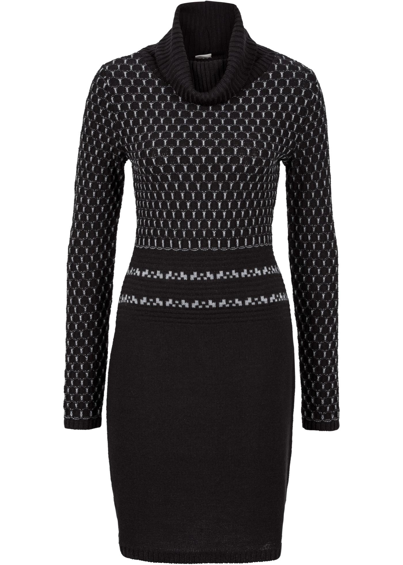 feminines langarm strickkleid kleid mit rollkragen schwarz grau gr 40 42 art89. Black Bedroom Furniture Sets. Home Design Ideas