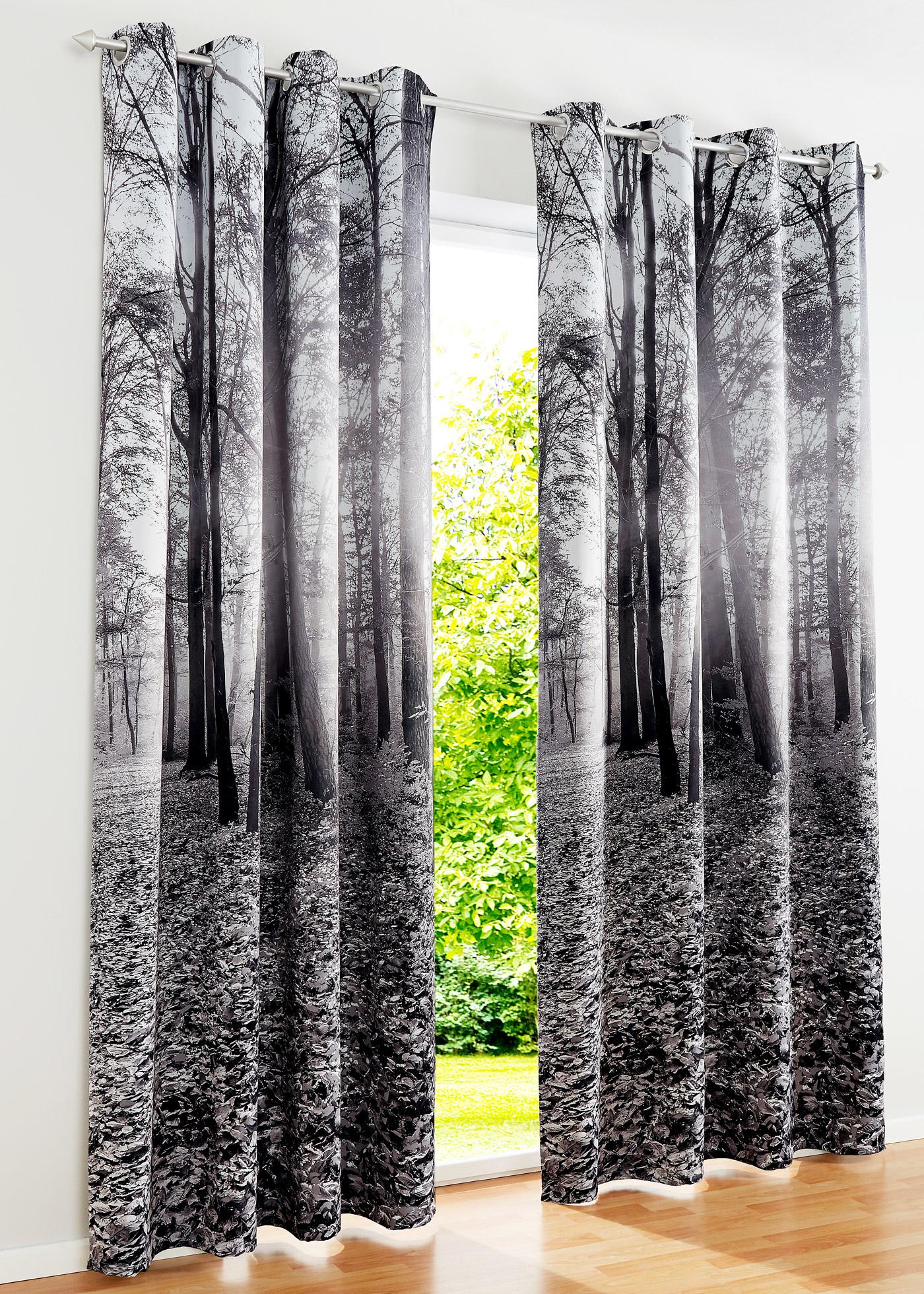 Verdunkelungsvorhang mit Wald Motiv (1er Pack) in grau von bonprix