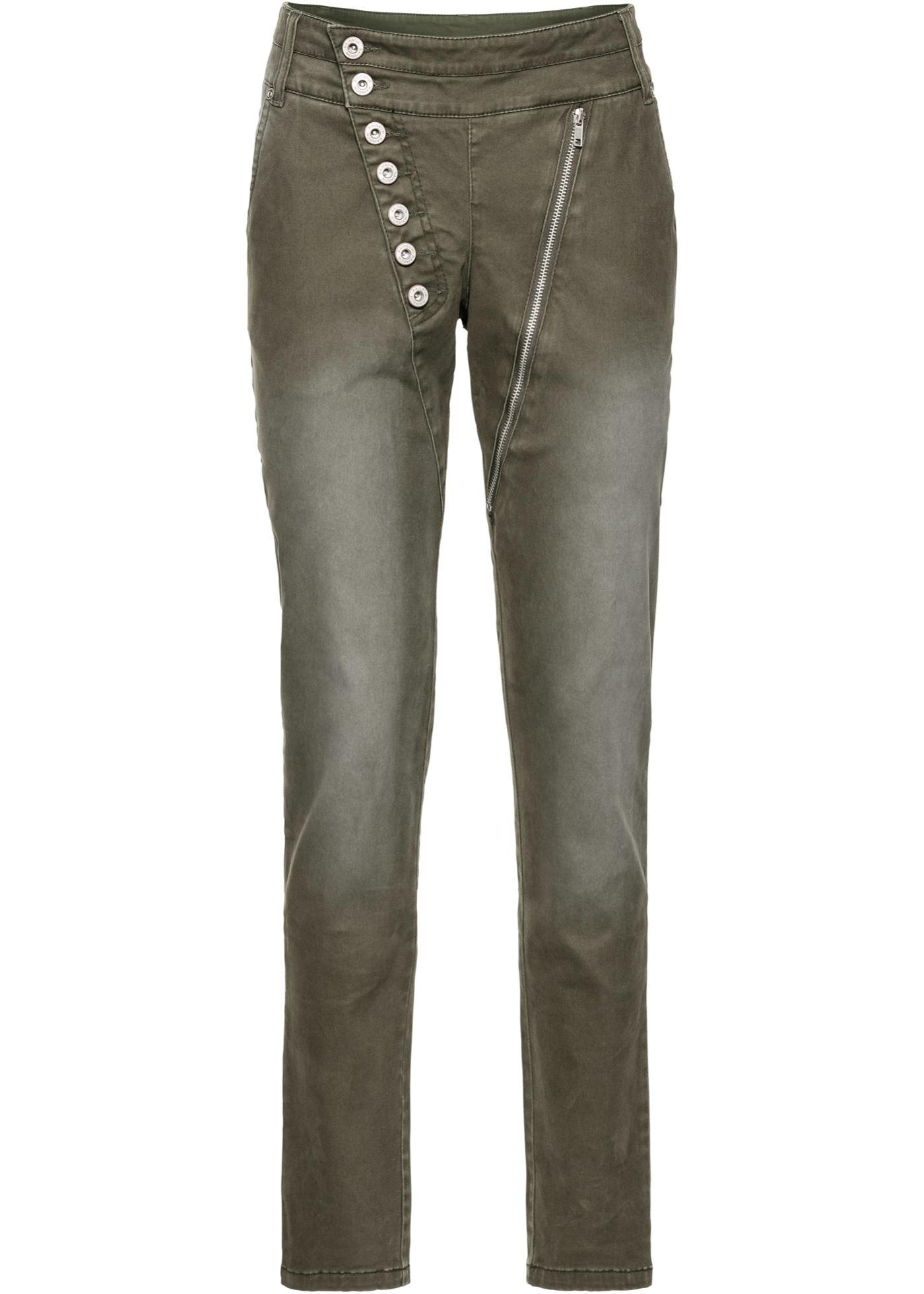 Hosen - Stretch Hose mit asymmetrischer Knopfleiste › bonprix › grün  - Onlineshop Bonprix