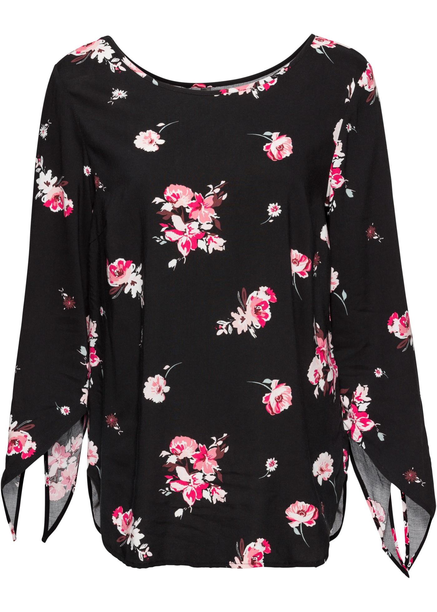 Bluse langarm  in schwarz (Rundhals) für Damen von bonprix