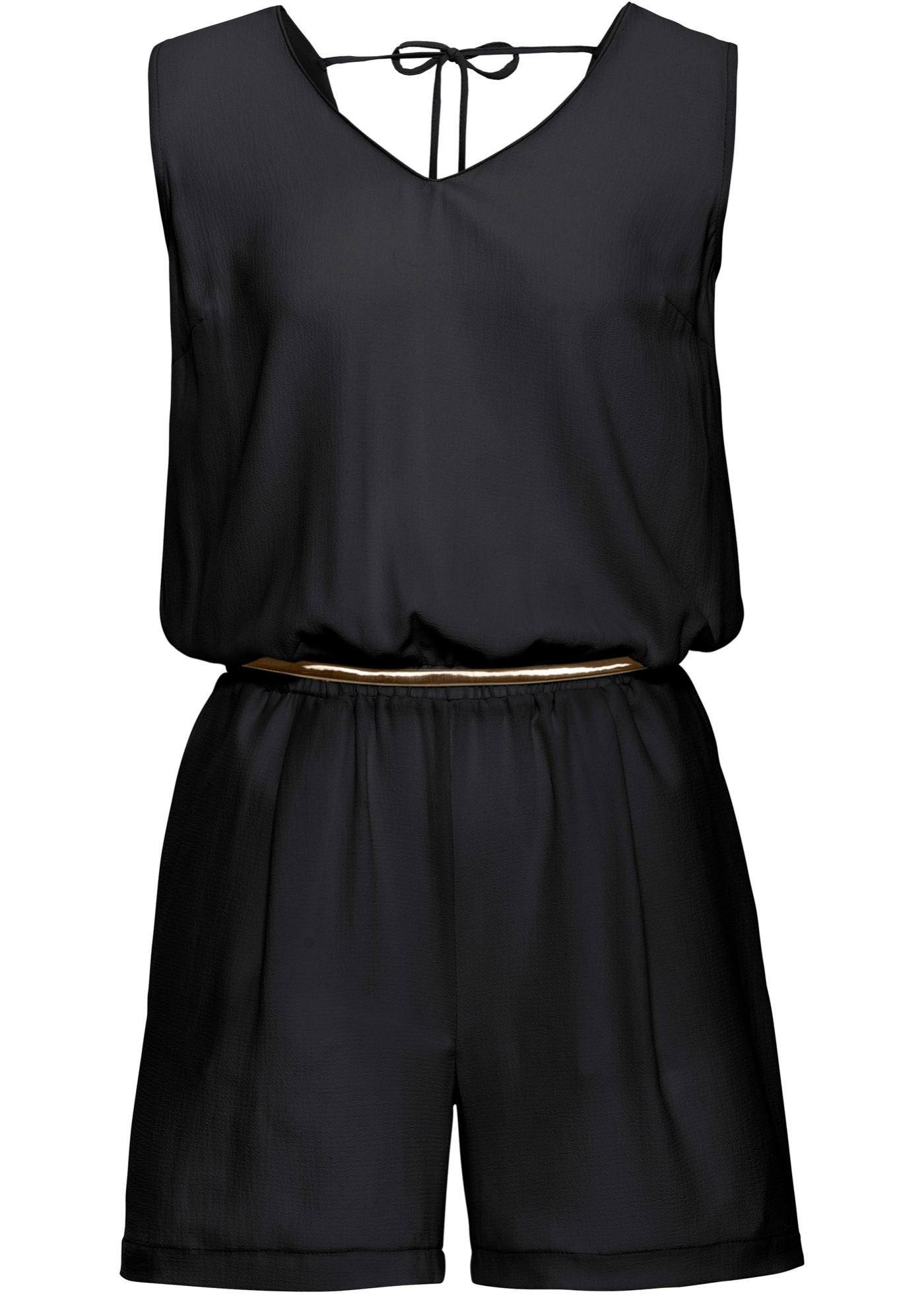 Kurzer Jumpsuit ohne Ärmel  in schwarz für Damen von bonprix
