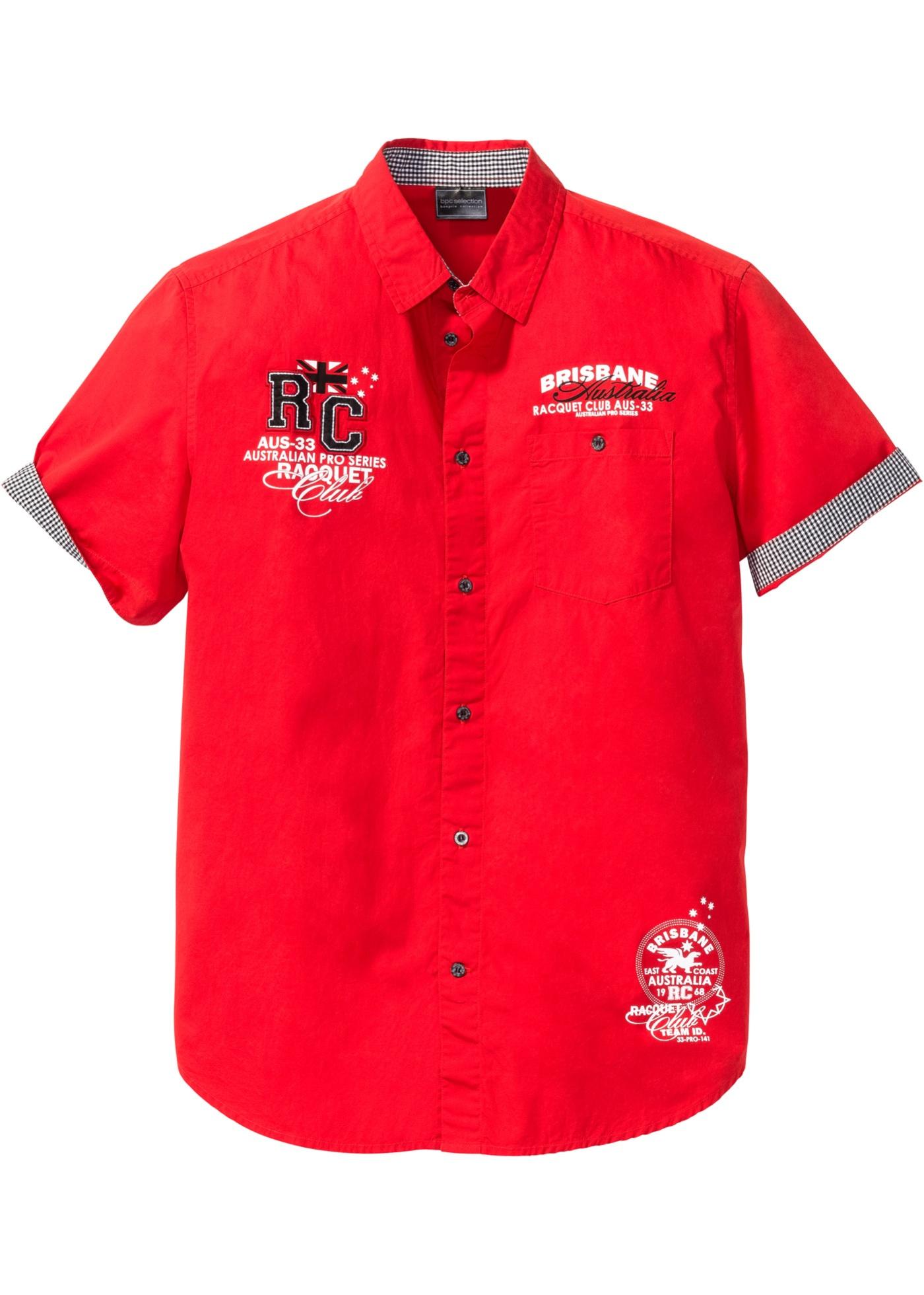 Kurzarmhemd mit Druck in rot für Herren von bonprix