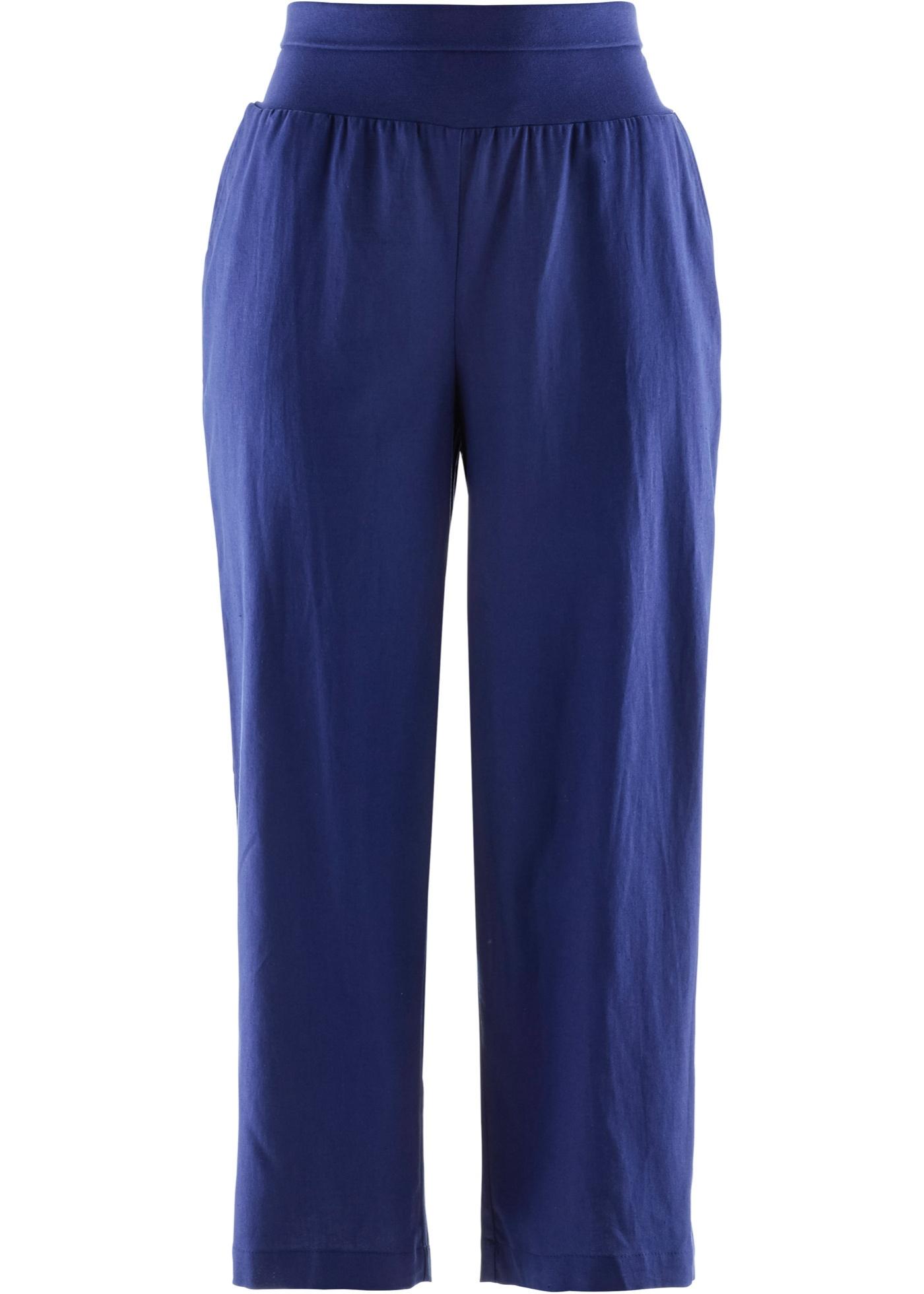 7/8-Leinenhose, Loose-Fit in blau für Damen von bonprix