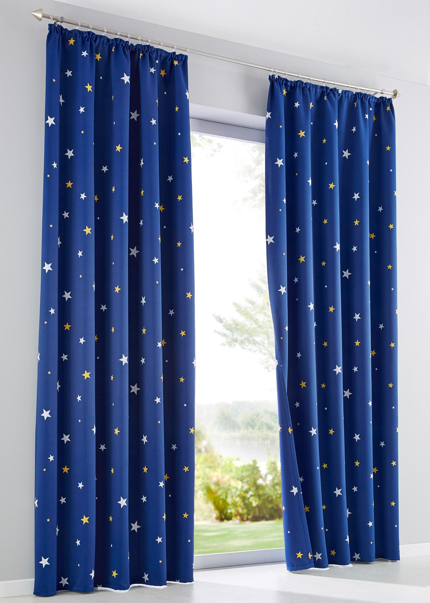 Verdunkelungsvorhang mit Sternen (1er Pack) in blau von bonprix