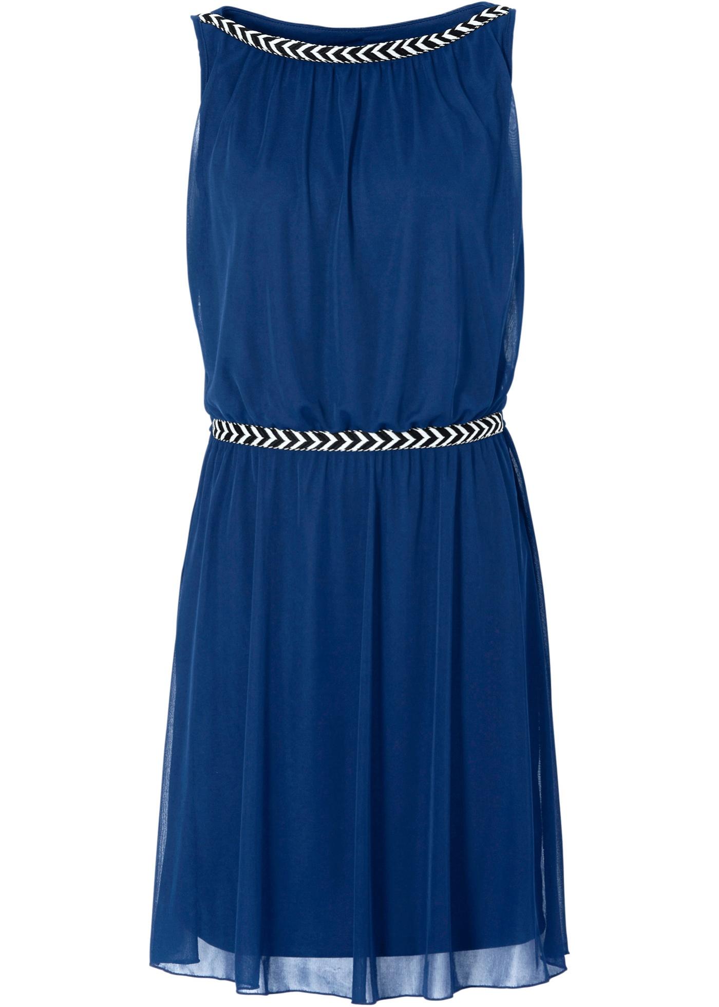 Shirtkleid ohne Ärmel  in blau (U-Boot-Ausschnitt) für Damen von bonprix