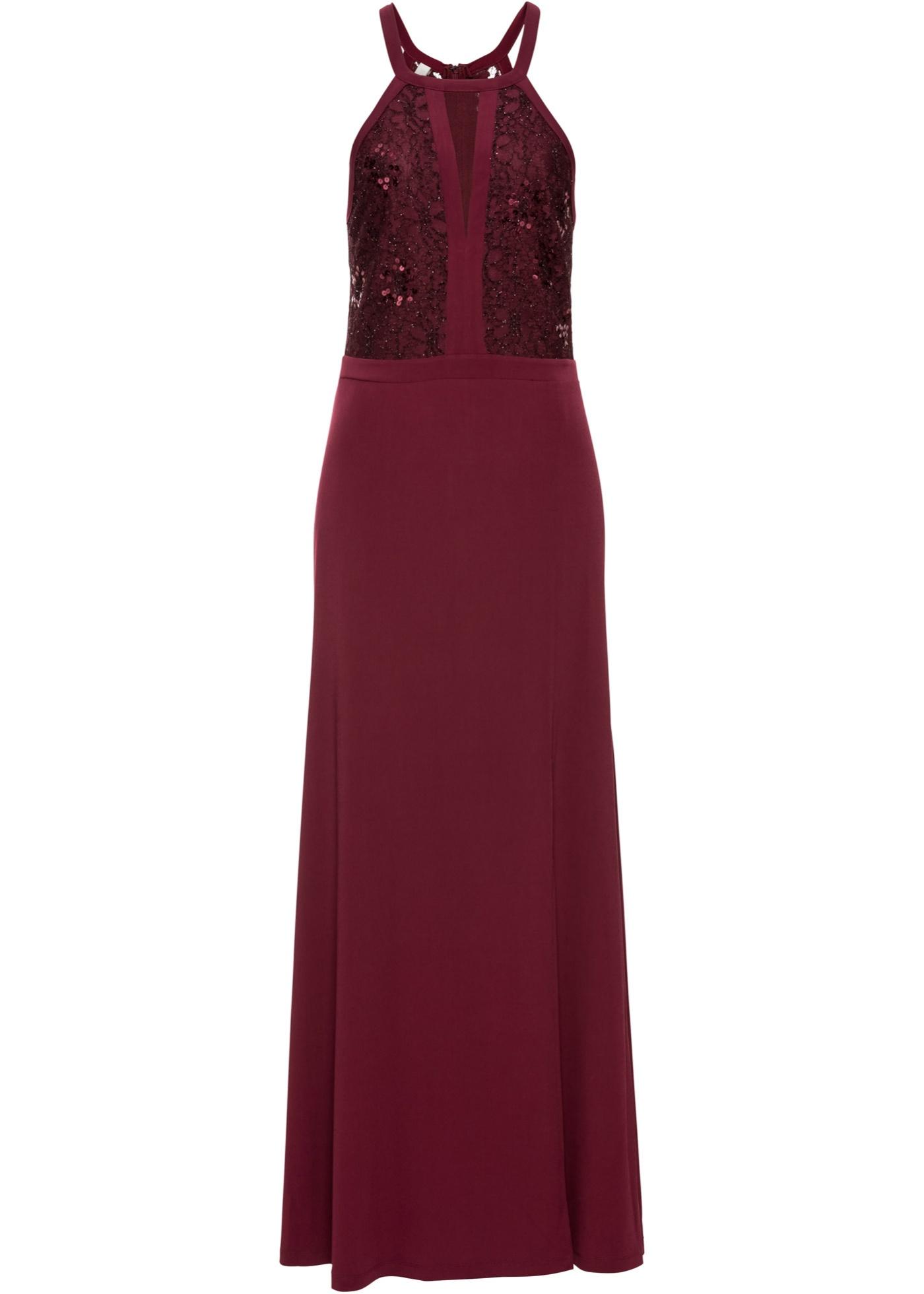 Festtagsmode - Neckholder Kleid mit Spitze und Pailletten › bonprix › rot  - Onlineshop Bonprix
