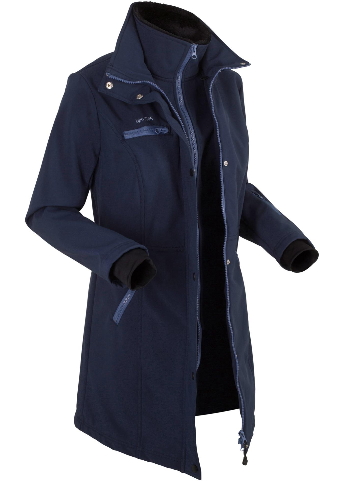 bpc bonprix collection Stretch-Softshell-Kurmantel, 2 in 1-Optik langarm  in blau für Damen von bonprix