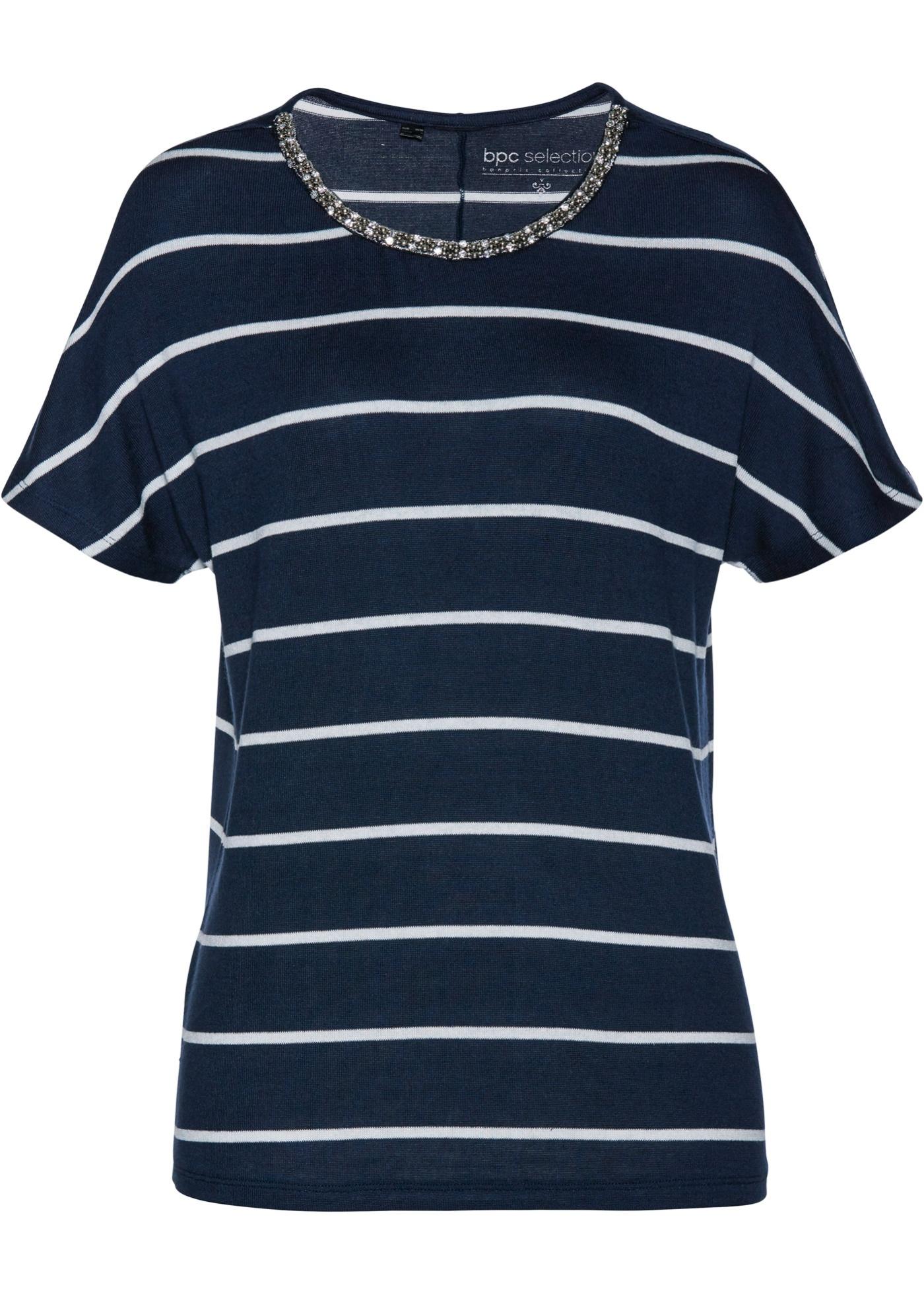 Streifenshirt mit Perlen kurzer Arm  in blau für Damen von bonprix