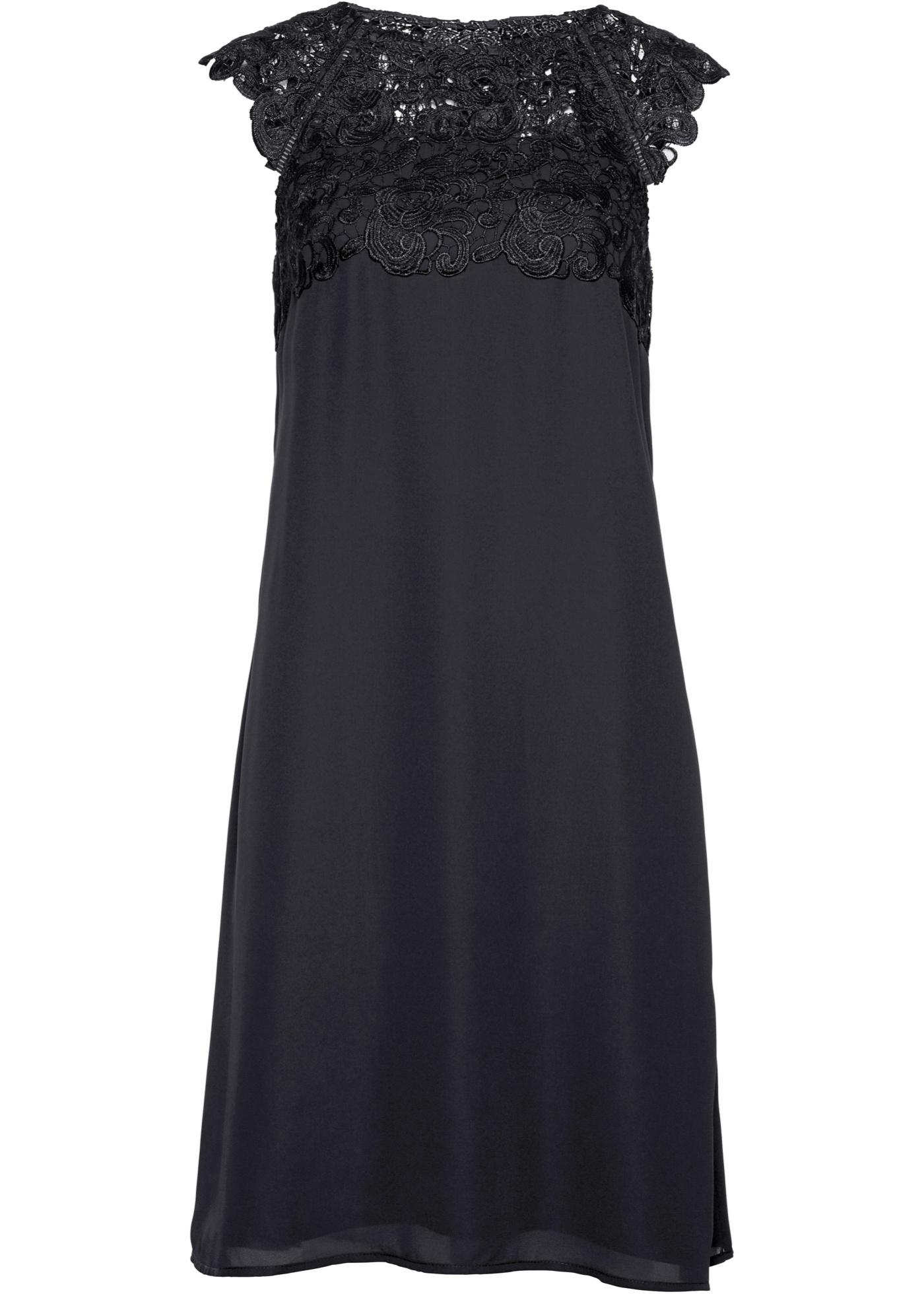 Premium Chiffonkleid mit Spitze kurzer Arm  in schwarz für Damen von bonprix