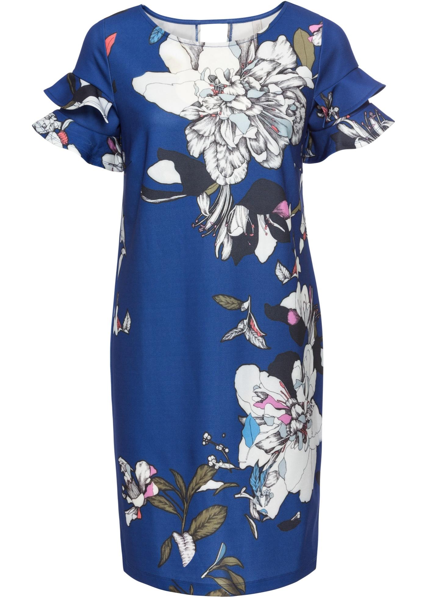 Shirtkleid mit Blumenprint kurzer Arm  in blau für Damen von bonprix