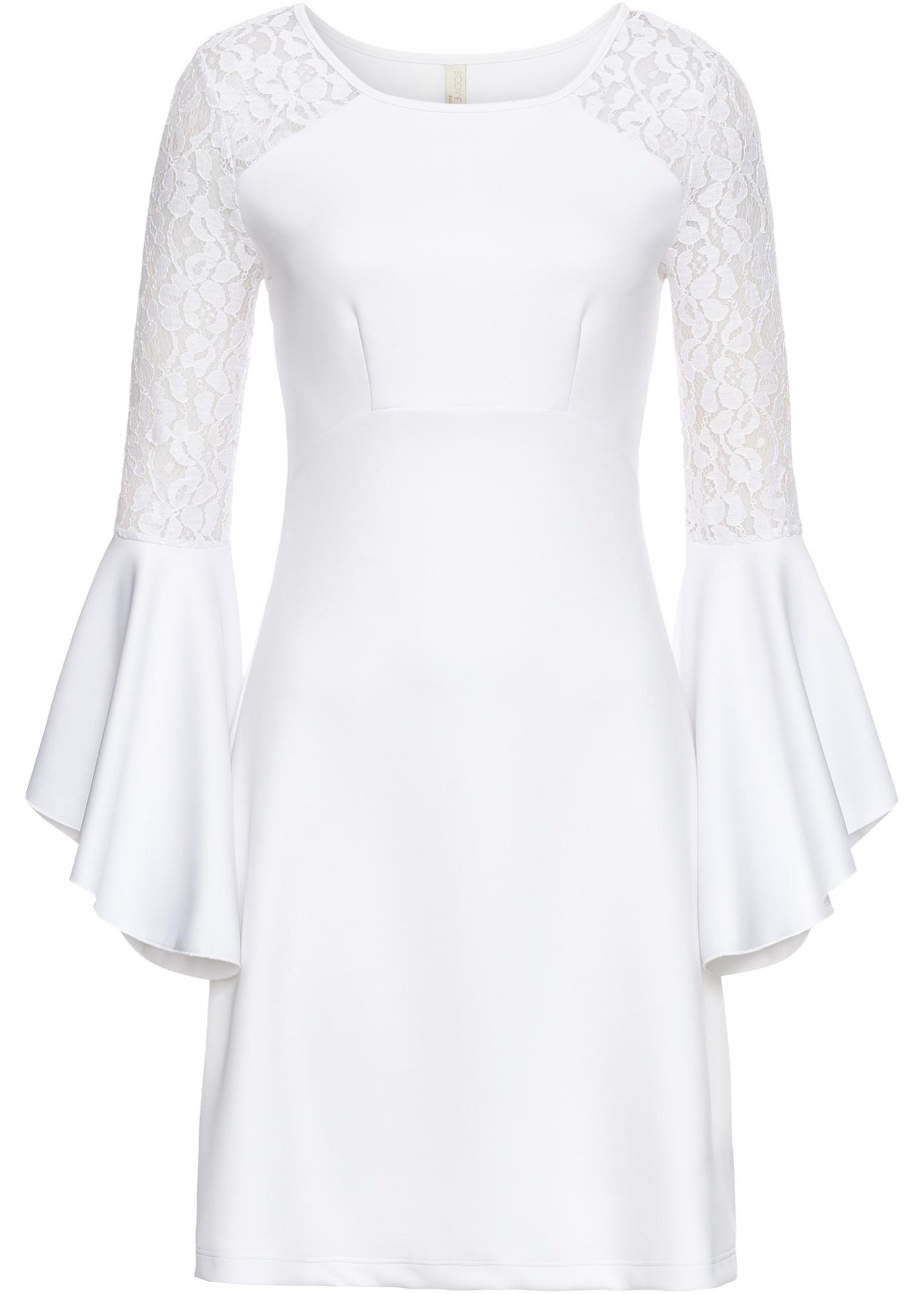 Damen bonprix Kleid mit Volant und Spitze blau, schwarz, weiß | 05712963760895