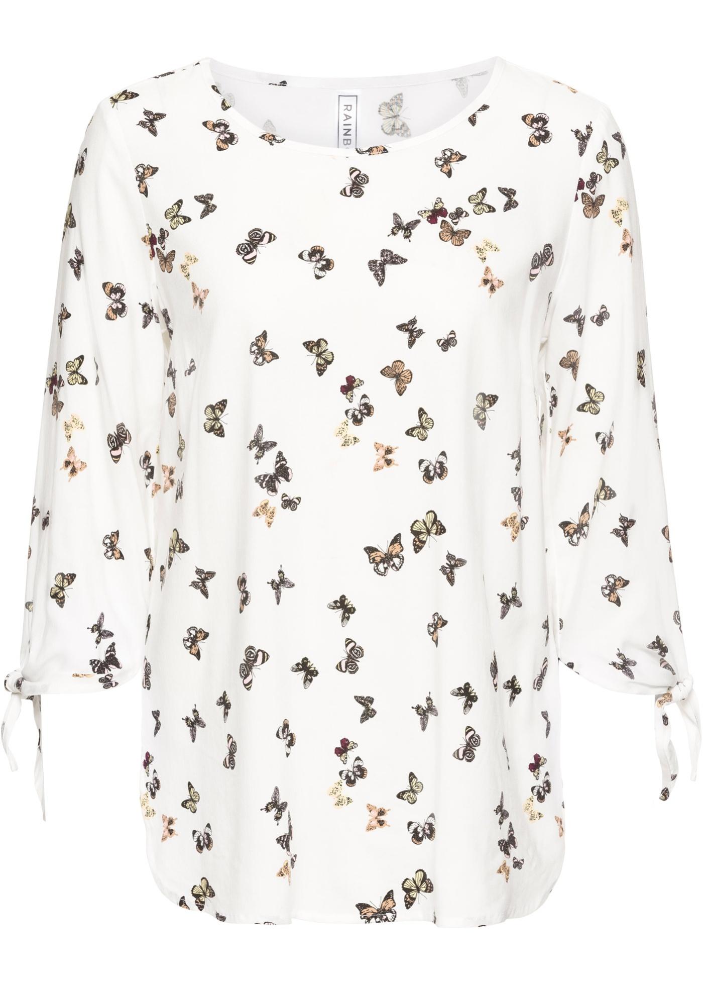 Bluse zum Knoten langarm  in weiß für Damen von bonprix