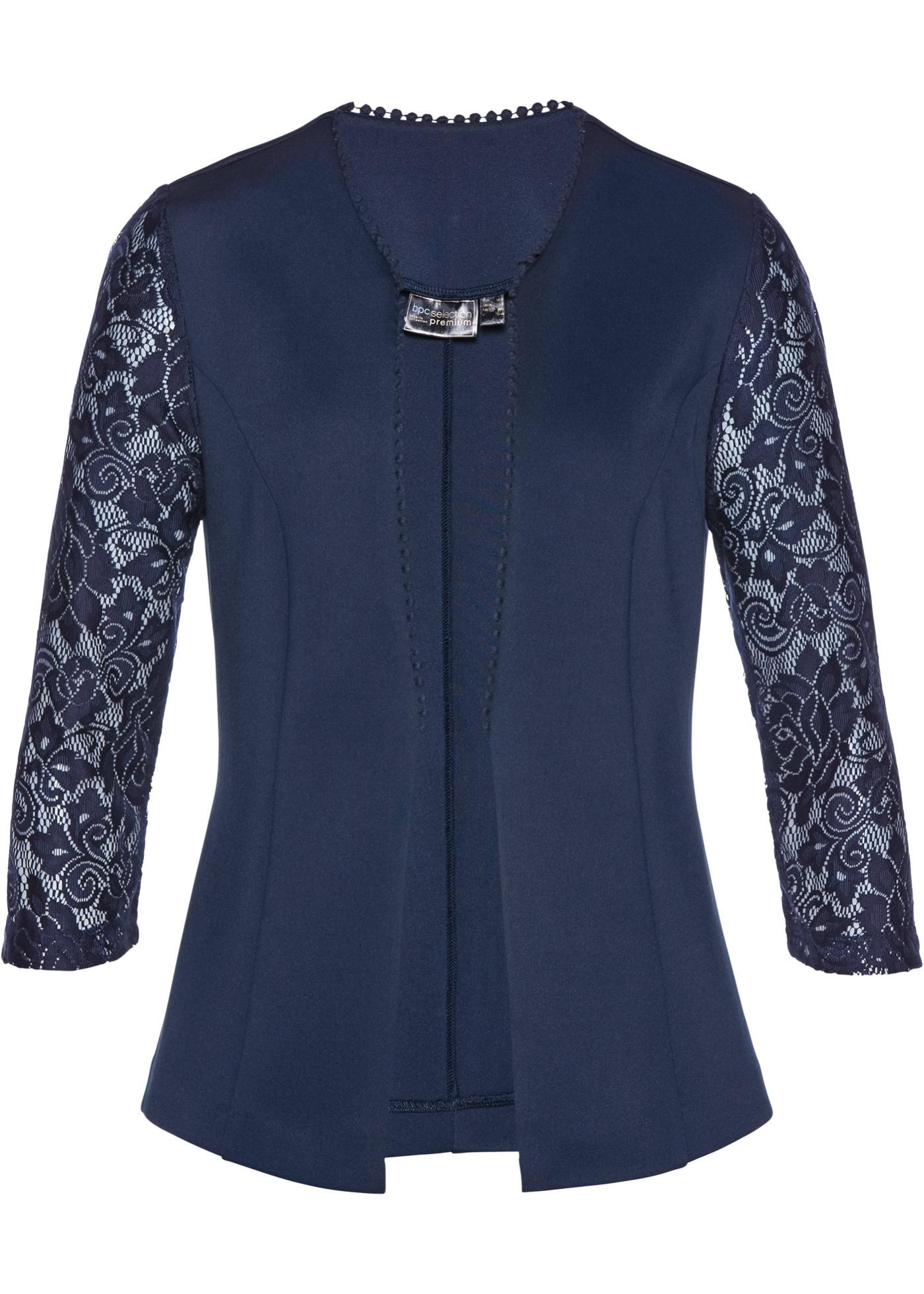 Premium Jersey-Blazer mit Spitze 3/4 Arm  in blau für Damen von bonprix