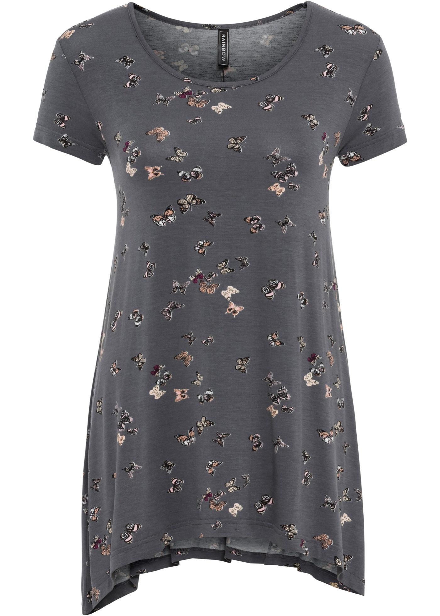 Shirt kurzer Arm  in grau (Rundhals) für Damen von bonprix
