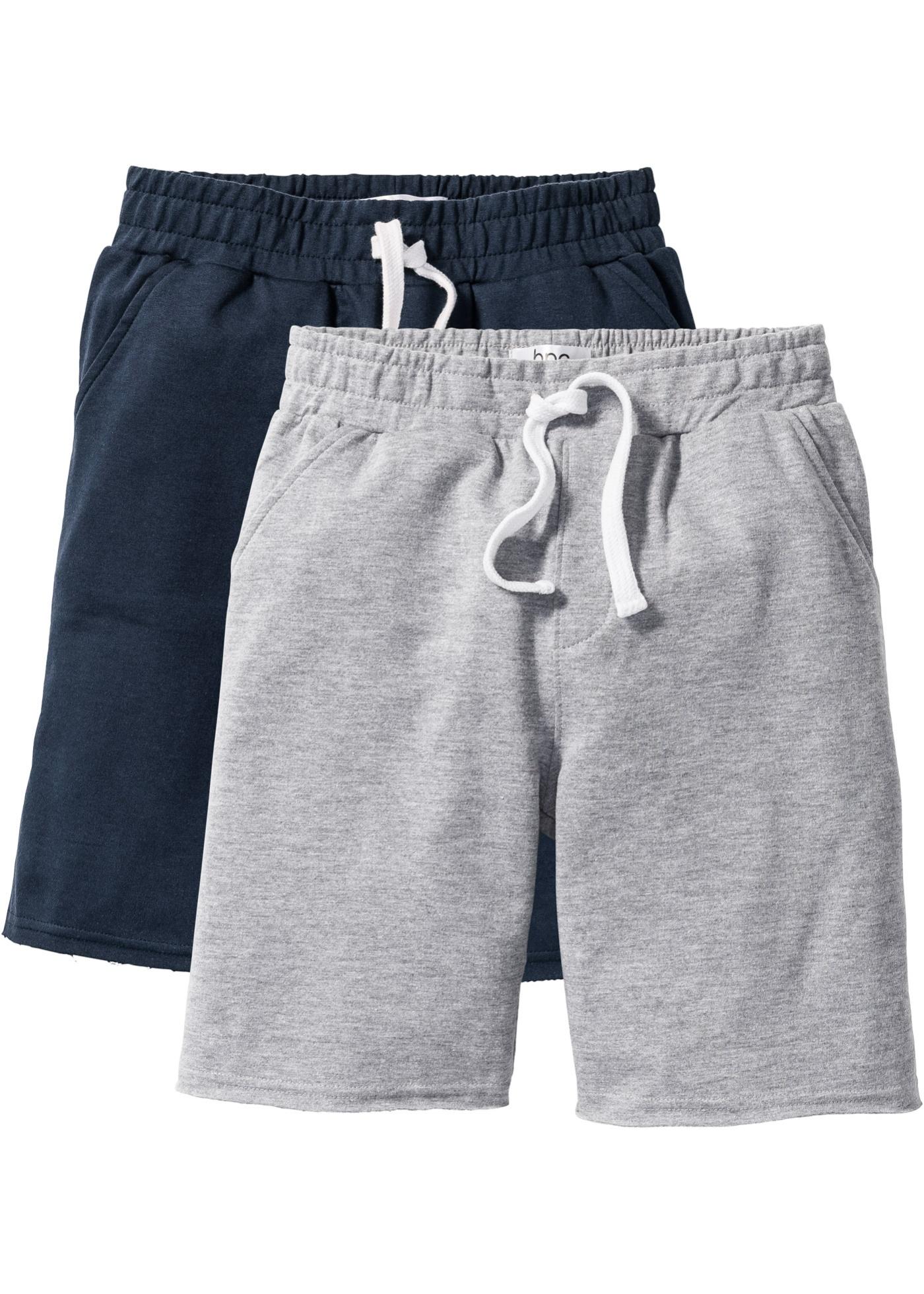 Sweatbermuda (2er-Pack) in grau für Jungen von bonprix