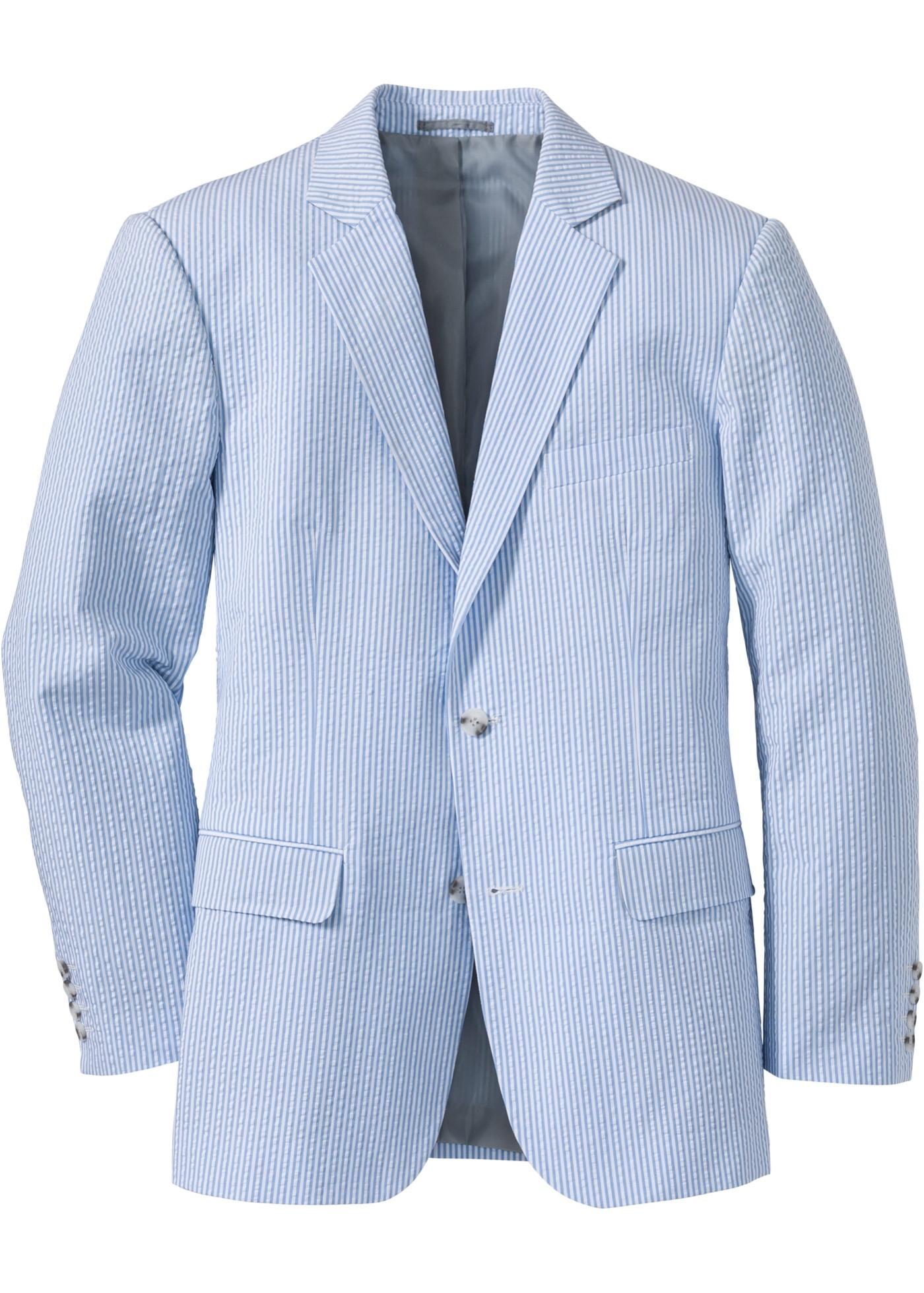 Seersucker-Sakko langarm  in blau für Herren von bonprix