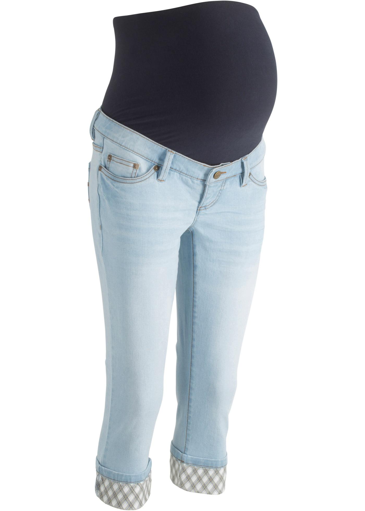 Umstands-Capri-Jeans mit kariertem Umschlag in blau für Damen von bonprix