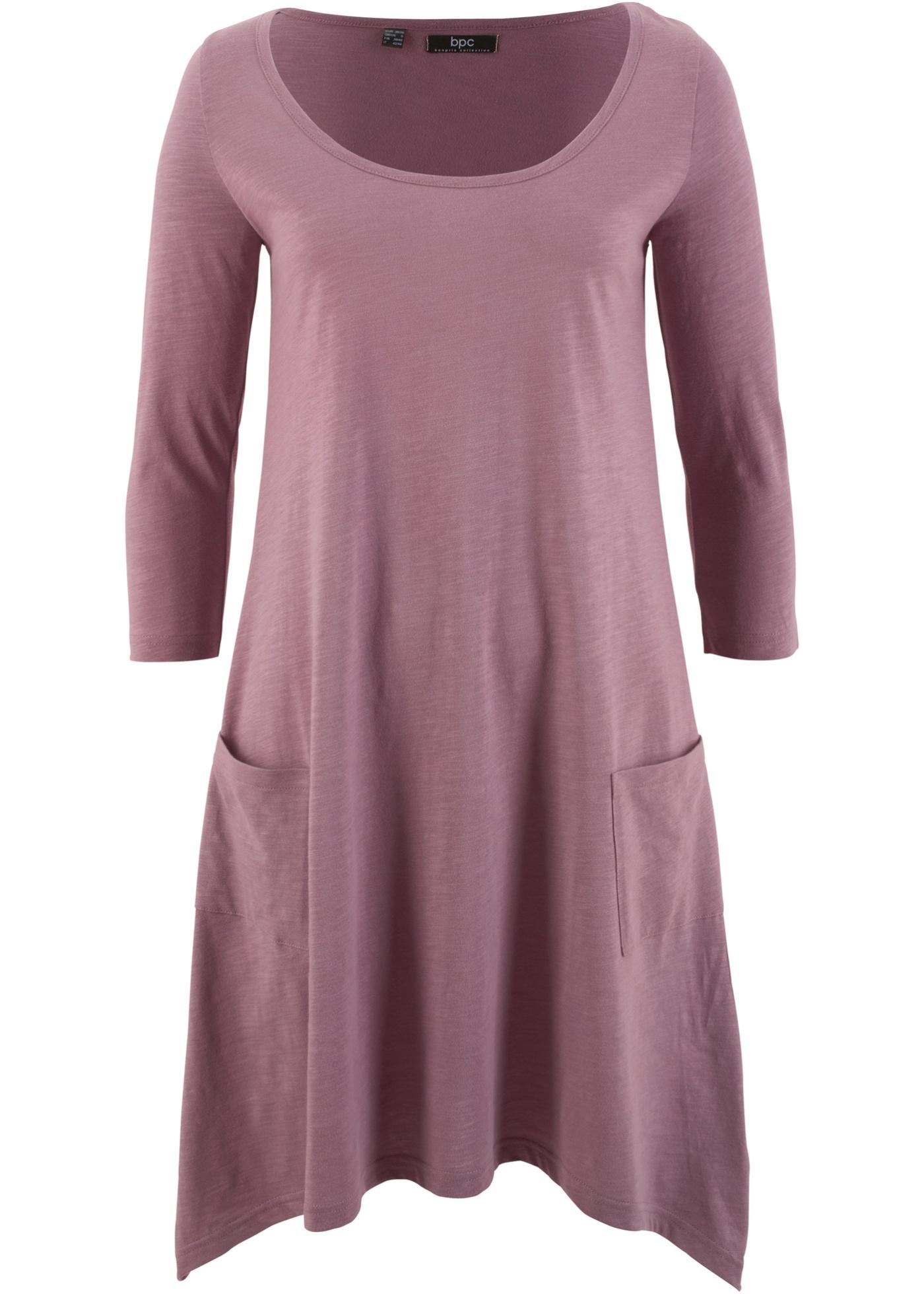Baumwoll-Flammgarn-Shirtkleid, 3/4-Arm