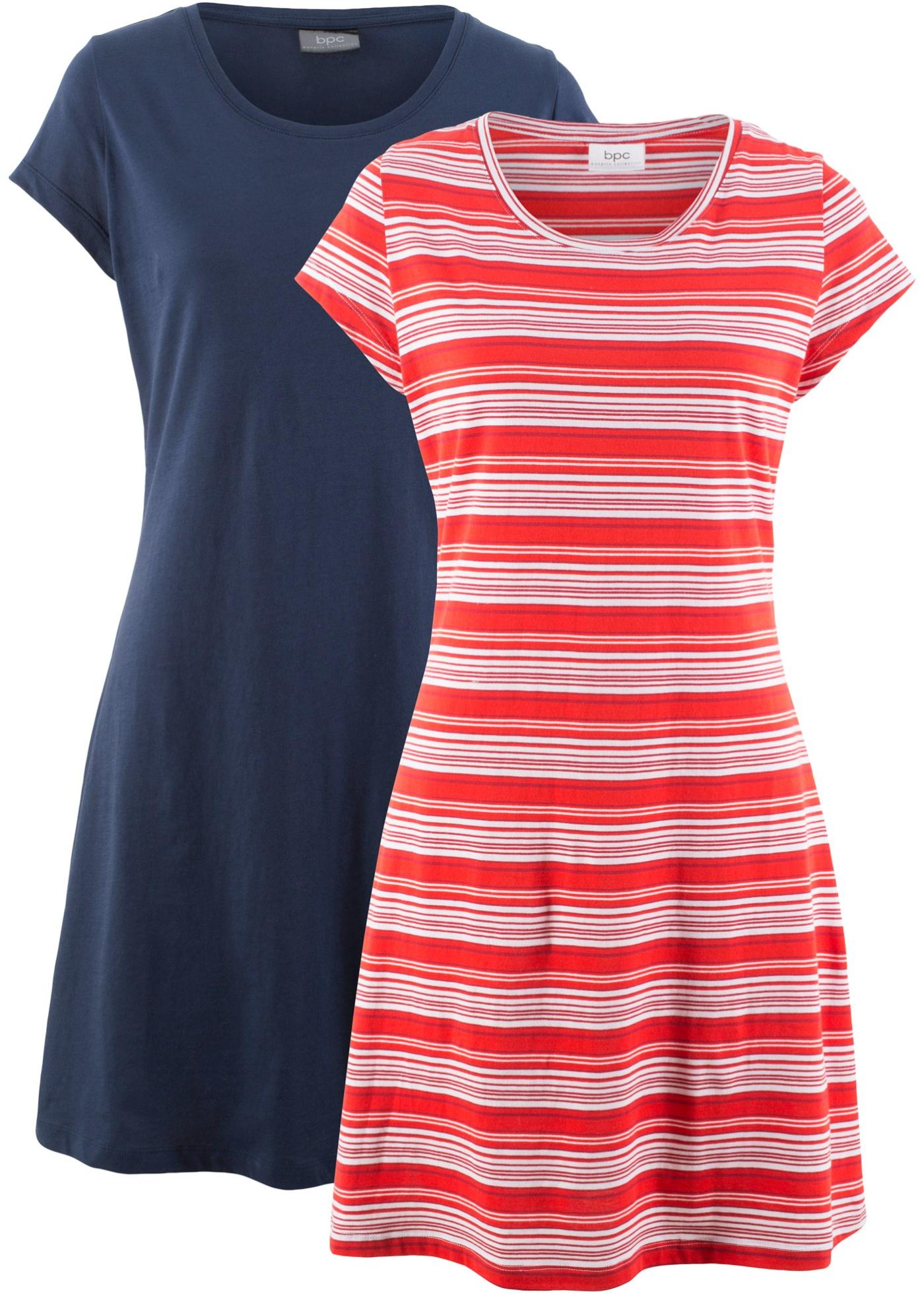 Stretch-Jerseykleid (Doppelpack), gestreift & uni