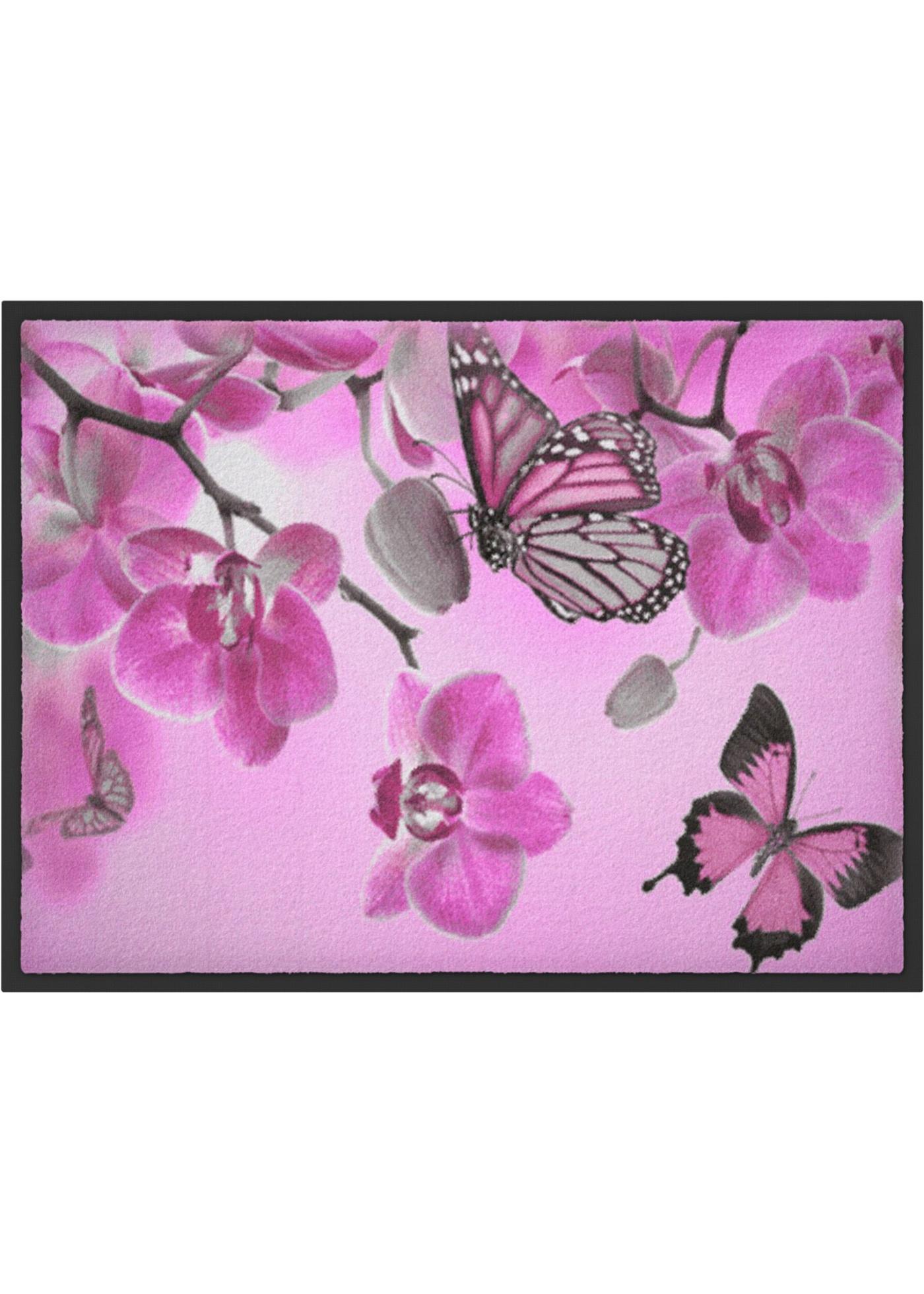 Fußmatte mit Schmetterlingdruck in rosa von bonprix