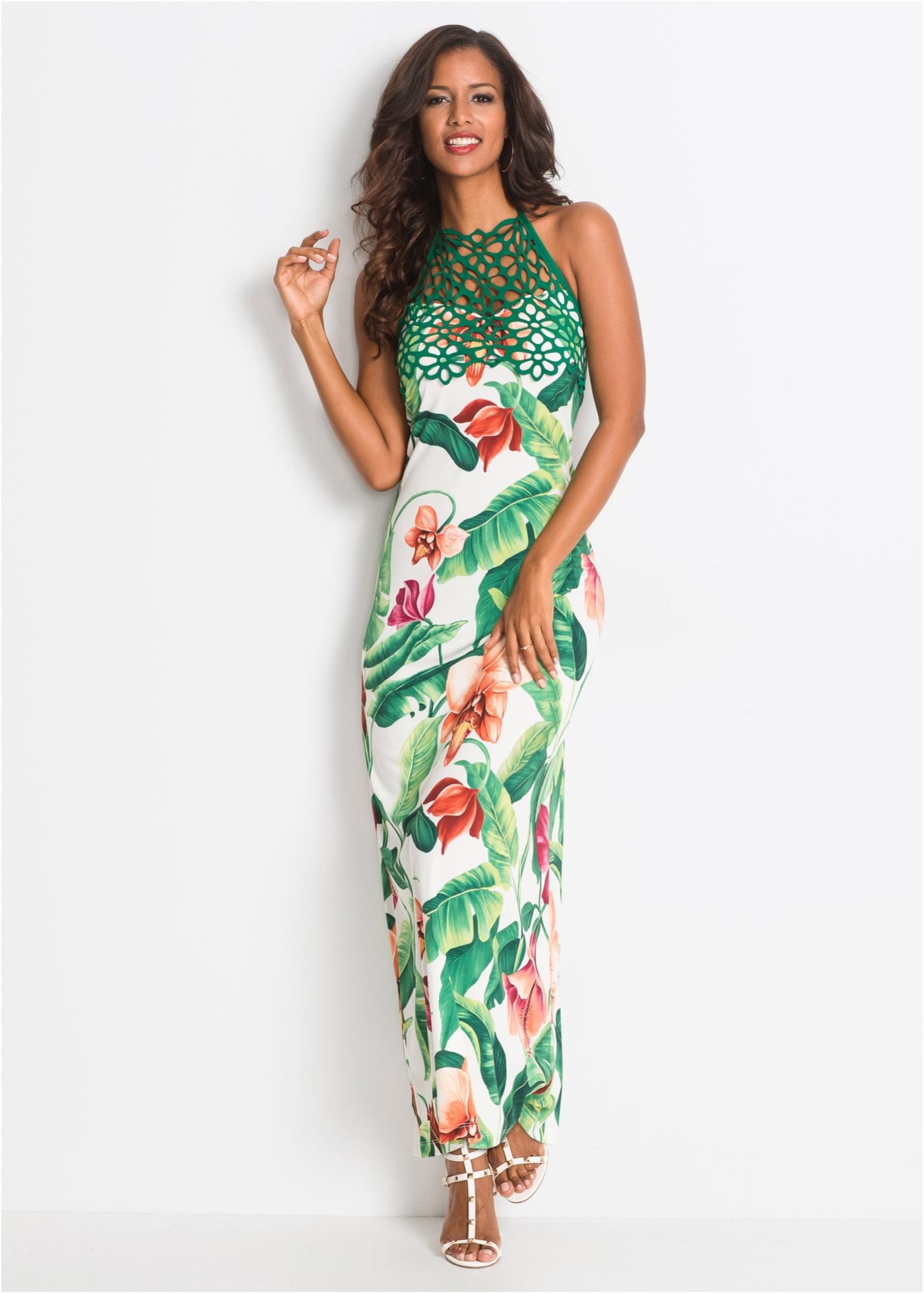 neckholder-kleid mit blumenprint weiß/grün geblümt - damen