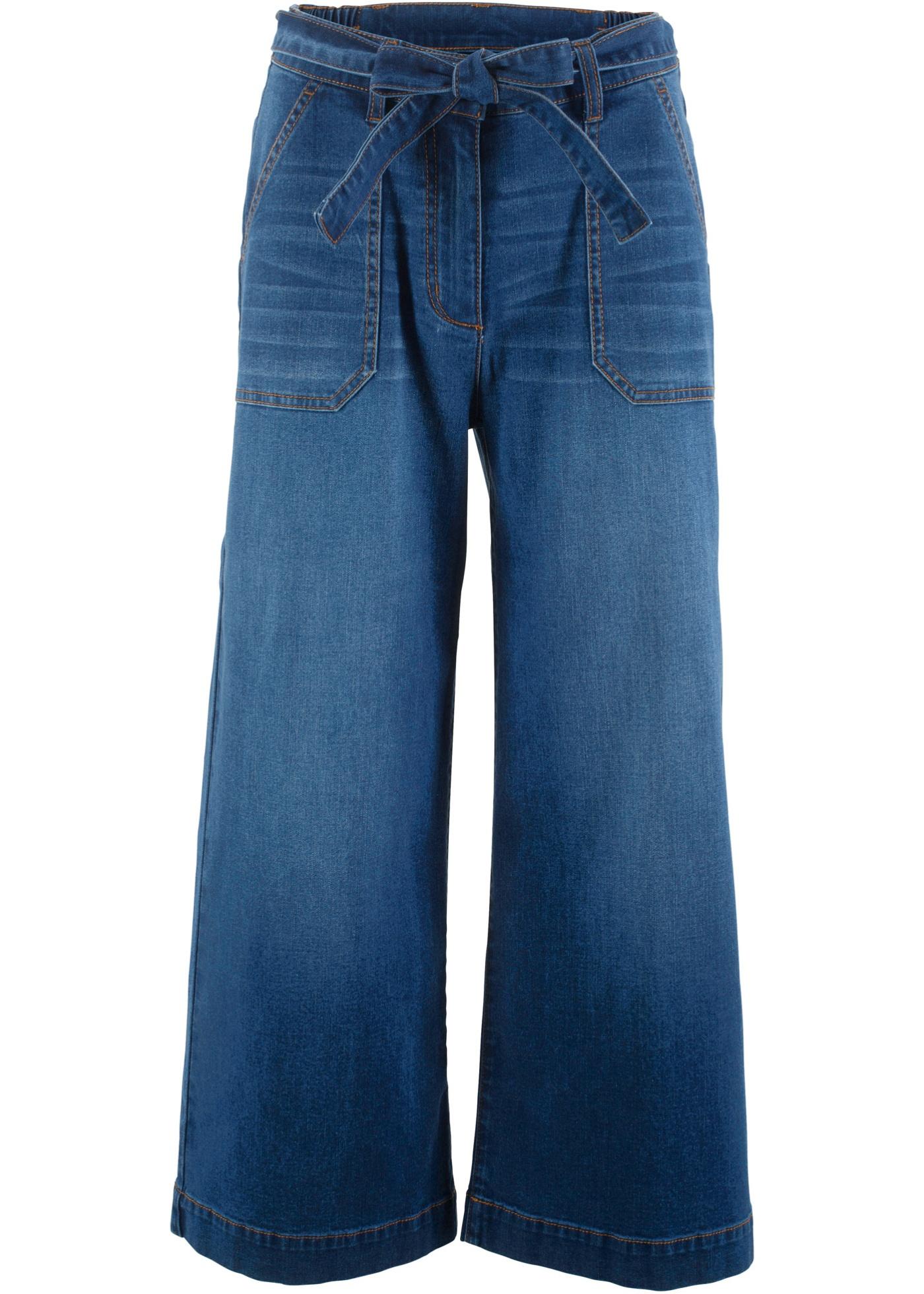 7/8-High Waist Jeans mit Bindegürtel, Loose-Fit
