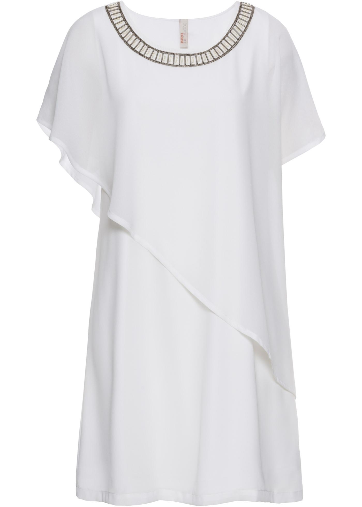 Kleid mit Applikationen Flügelärmel  in weiß für Damen von bonprix