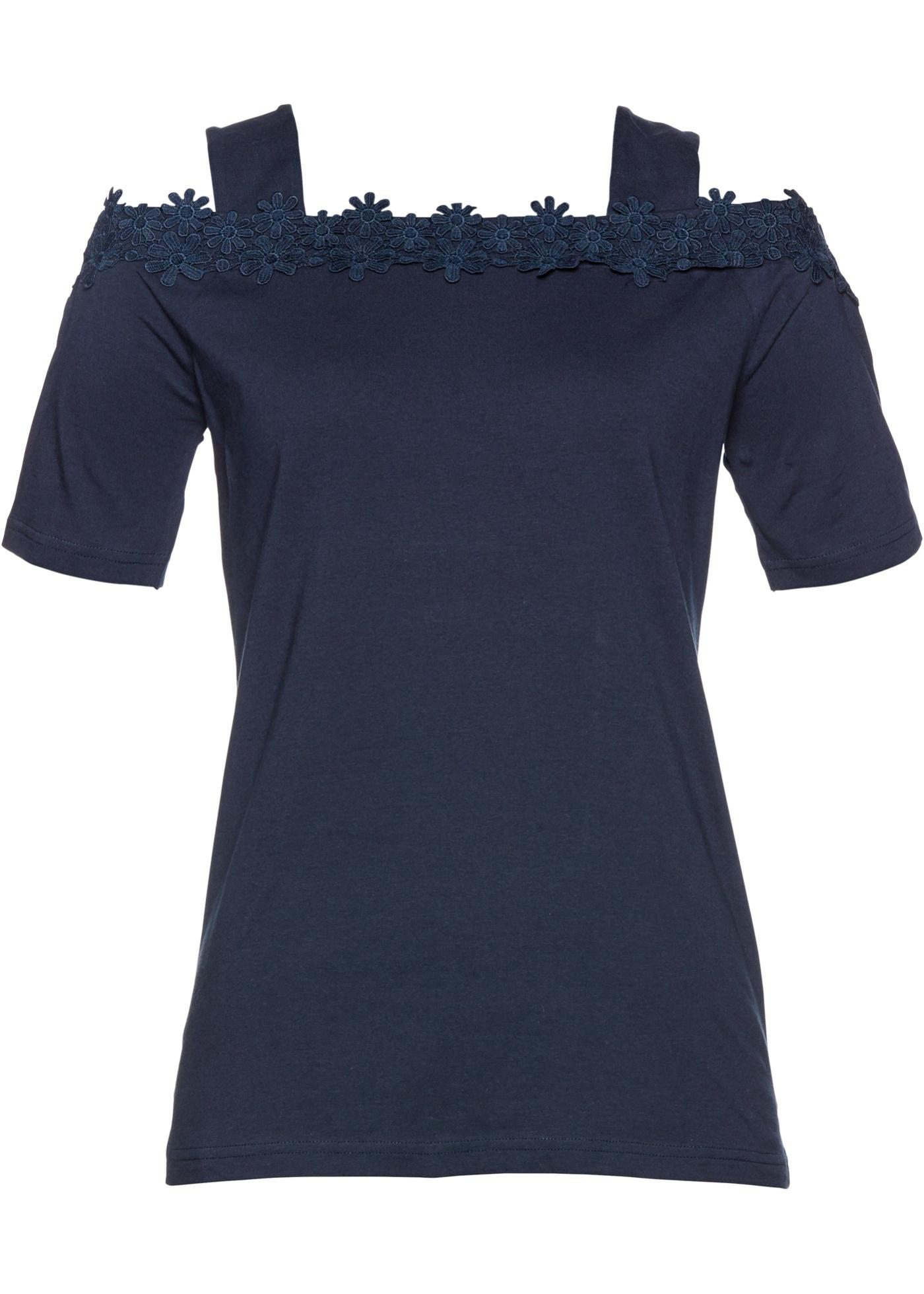 Cold-Shoulder-Shirt kurzer Arm  in blau für Damen von bonprix