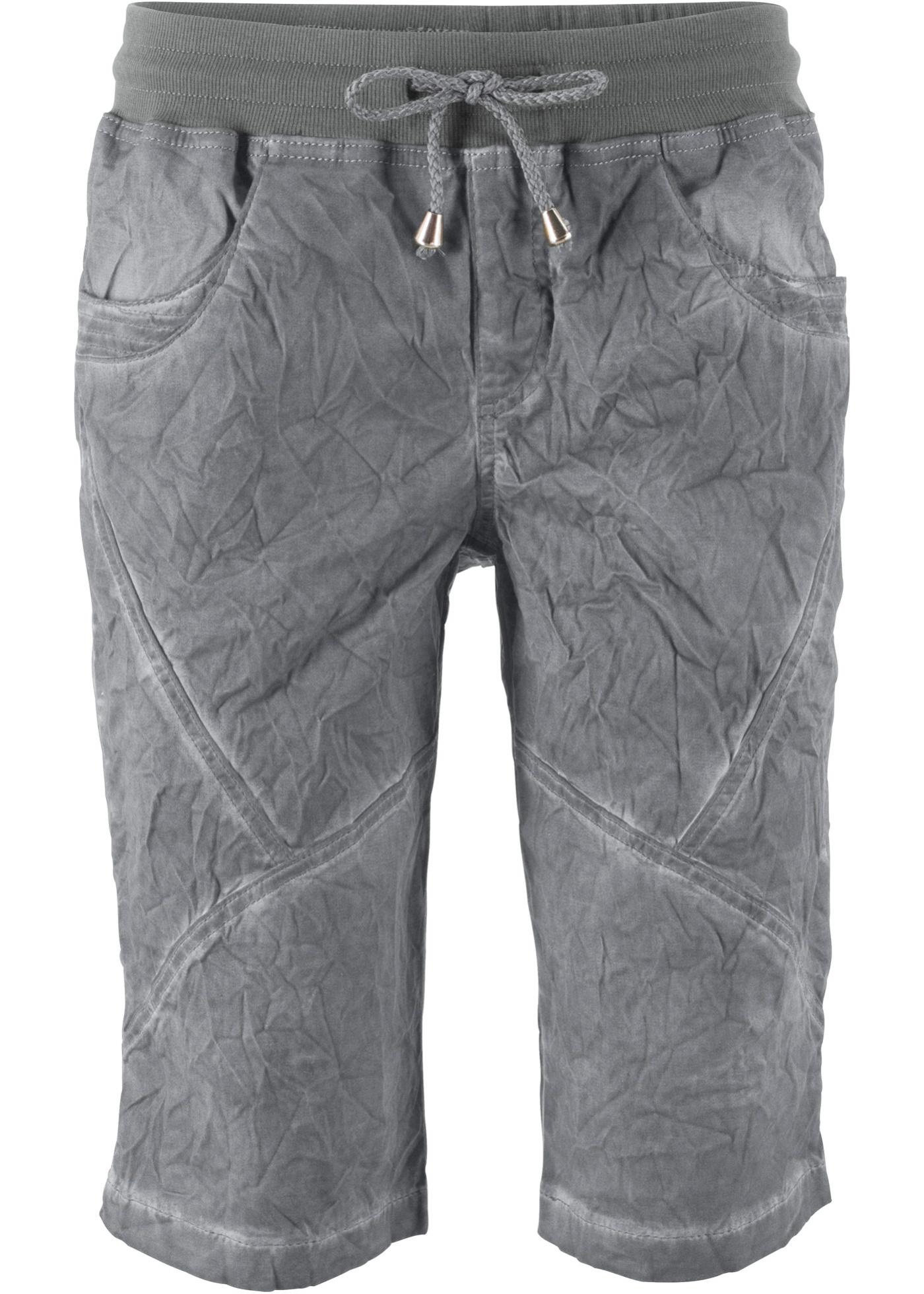 Shorts mit Used-Waschung in grau für Damen von bonprix