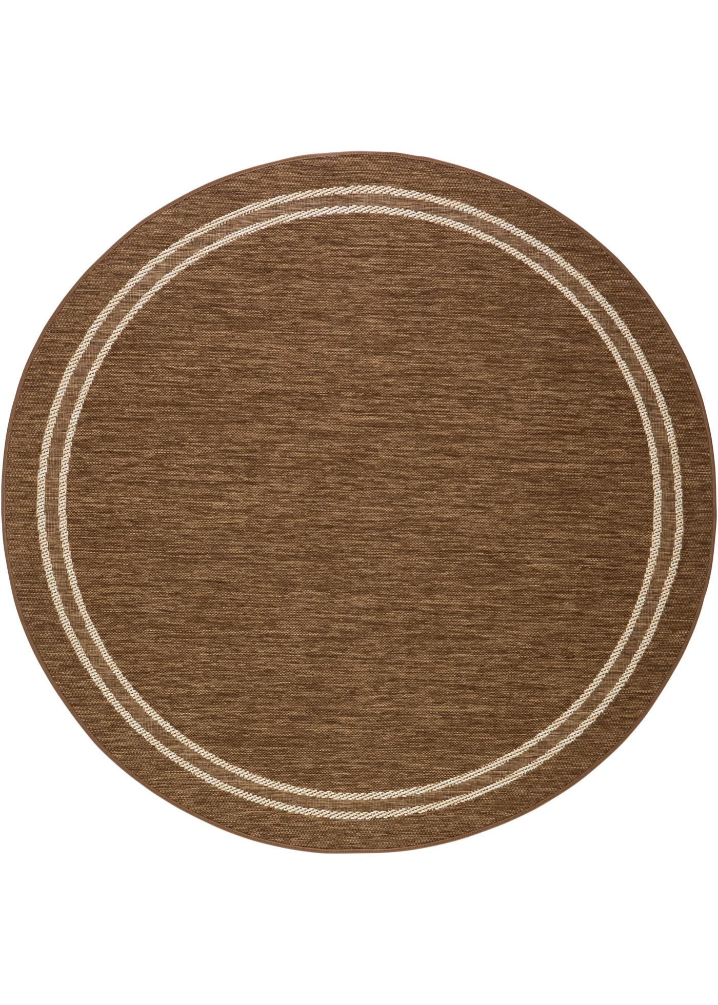 Runder In- und Outdoor Teppich mit Bordüre