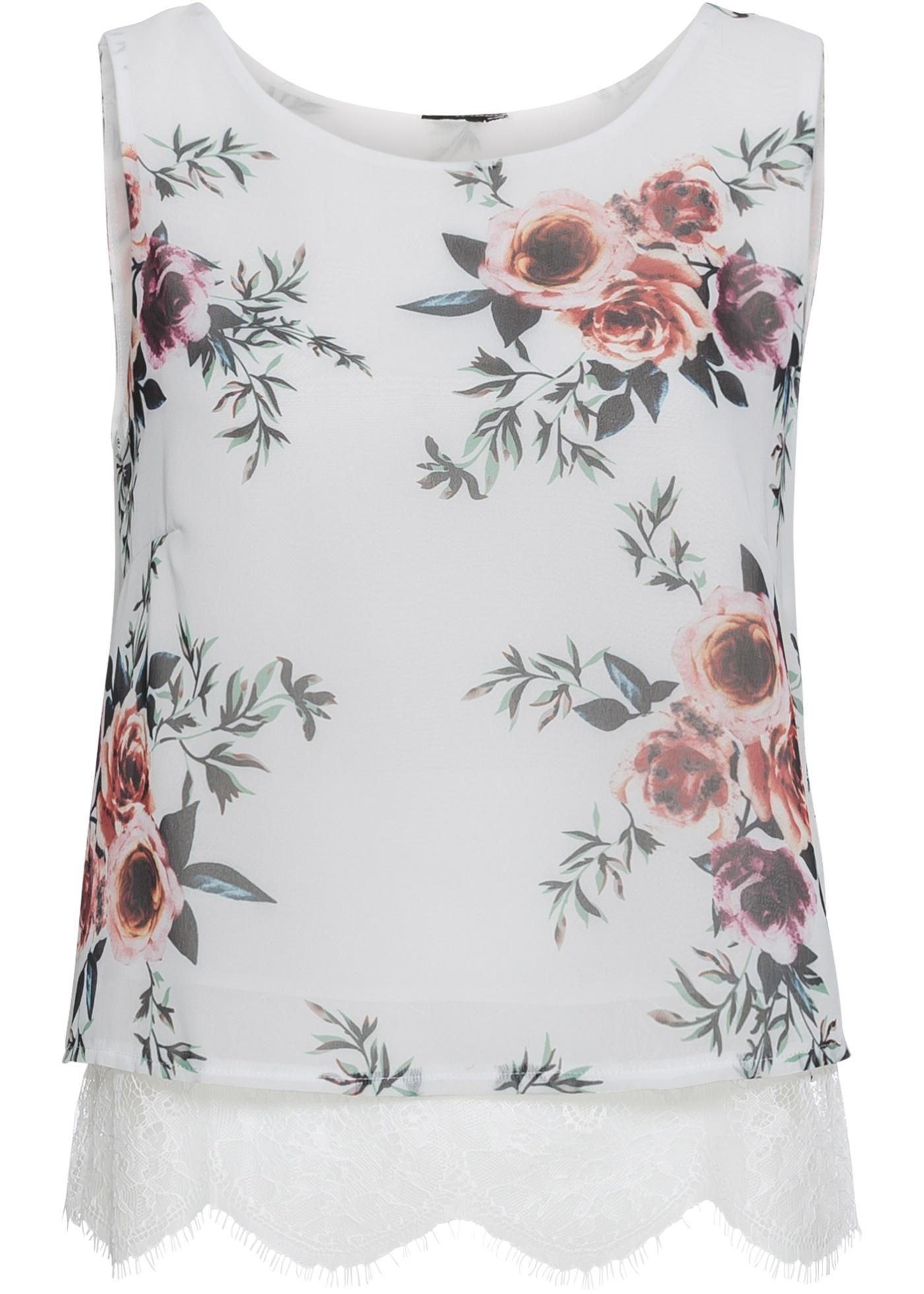 Blusenshirt mit Spitze ohne Ärmel  in weiß für Damen von bonprix