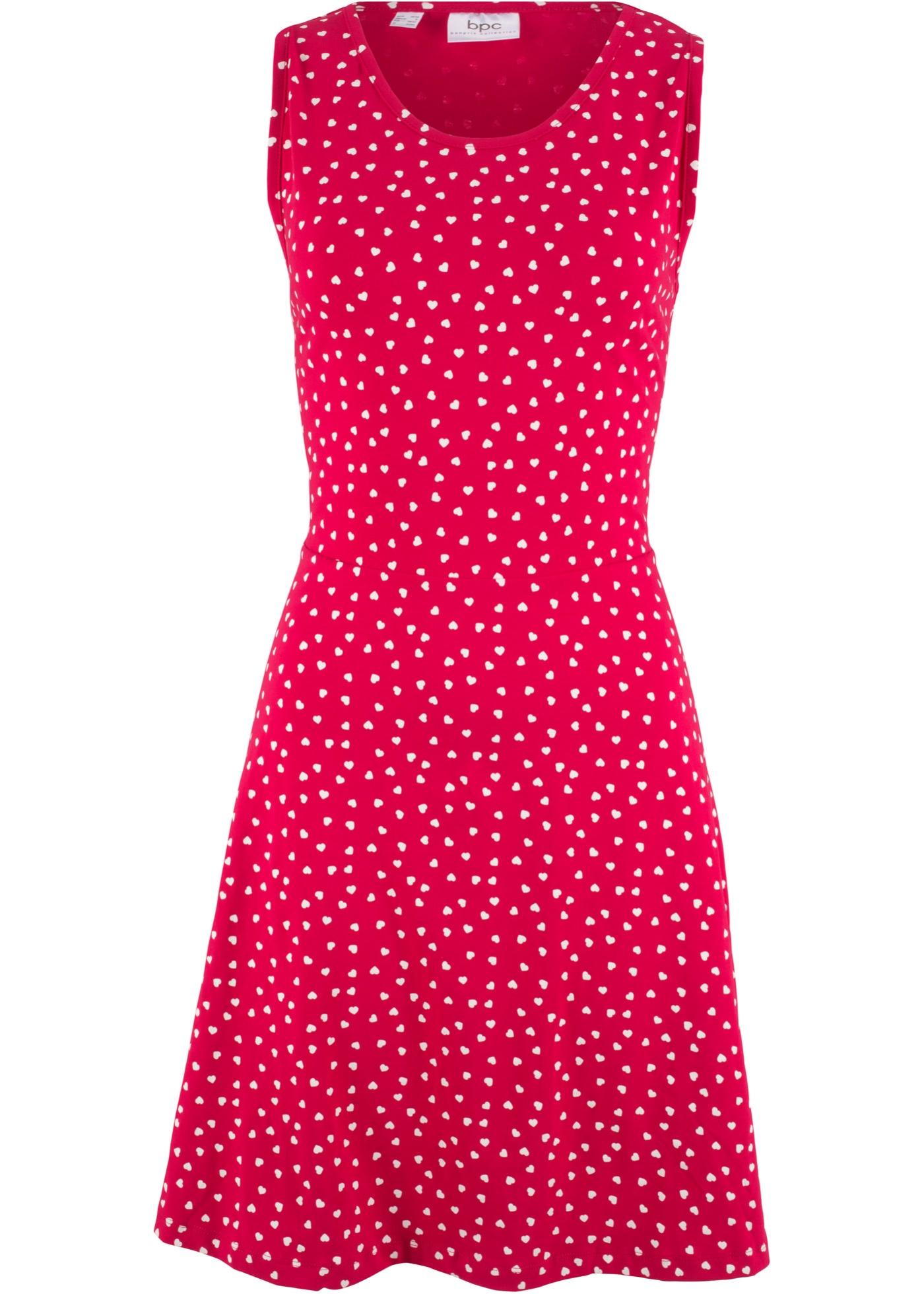 Jerseykleid mit Herzen ohne Ärmel  in rot für Damen von bonprix