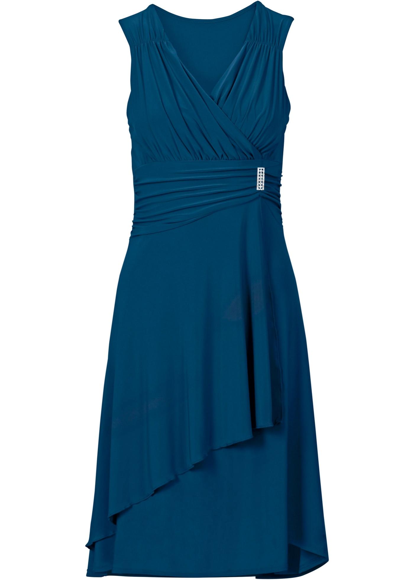 Jerseykleid mit Applikation ohne Ärmel  in blau für Damen von bonprix