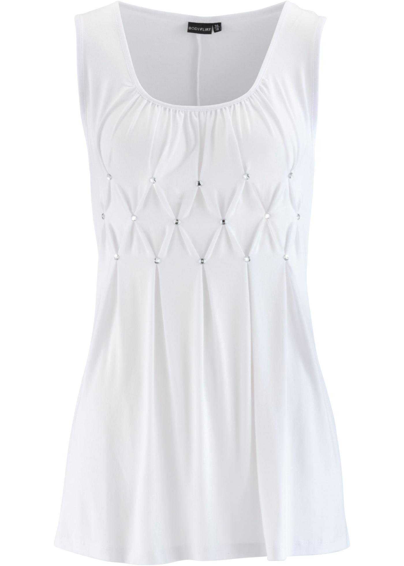 Long-Top mit Glitzersteinen ohne Ärmel  in weiß für Damen von bonprix