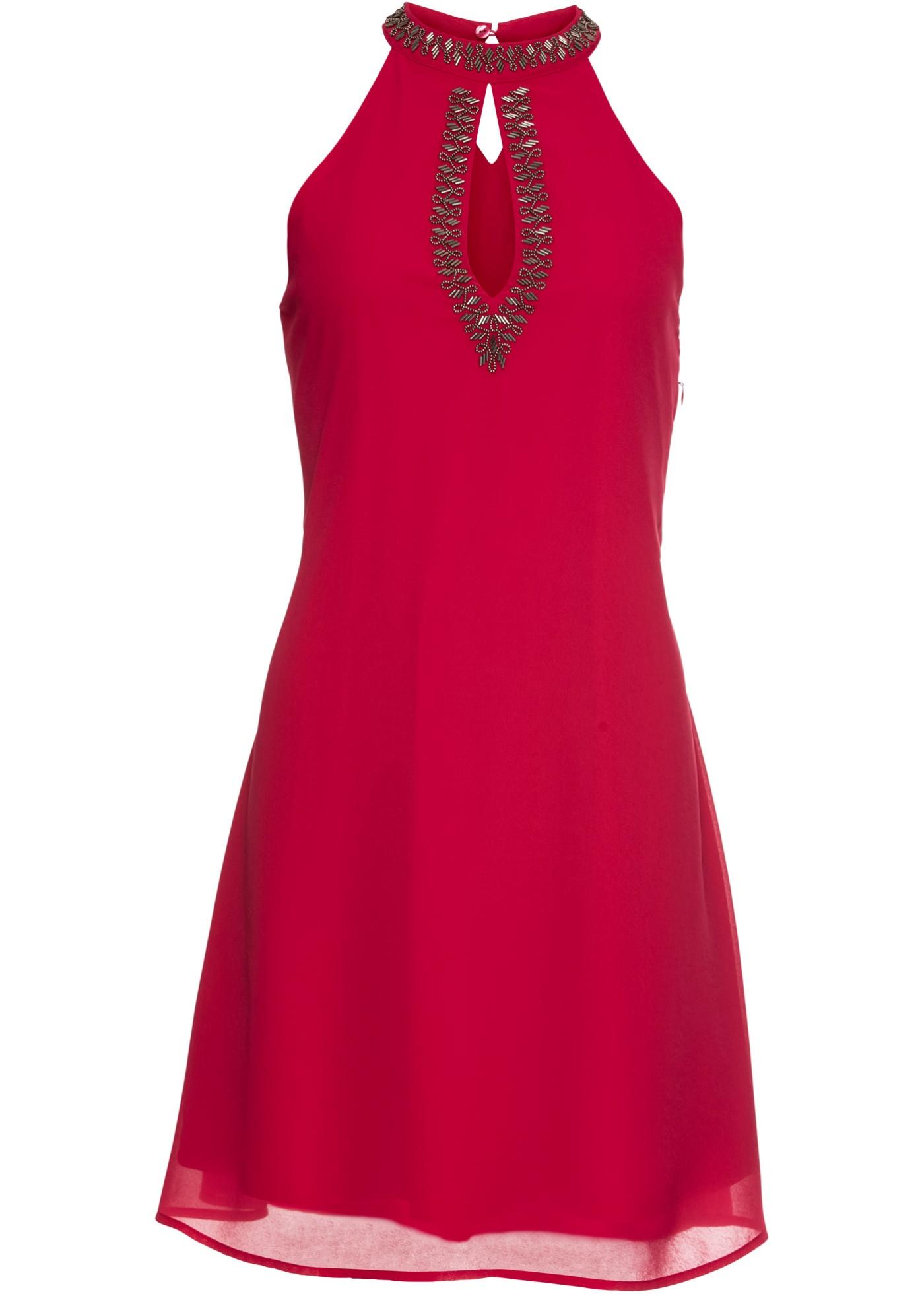Neckholder-Kleid mit Perlenverzierung
