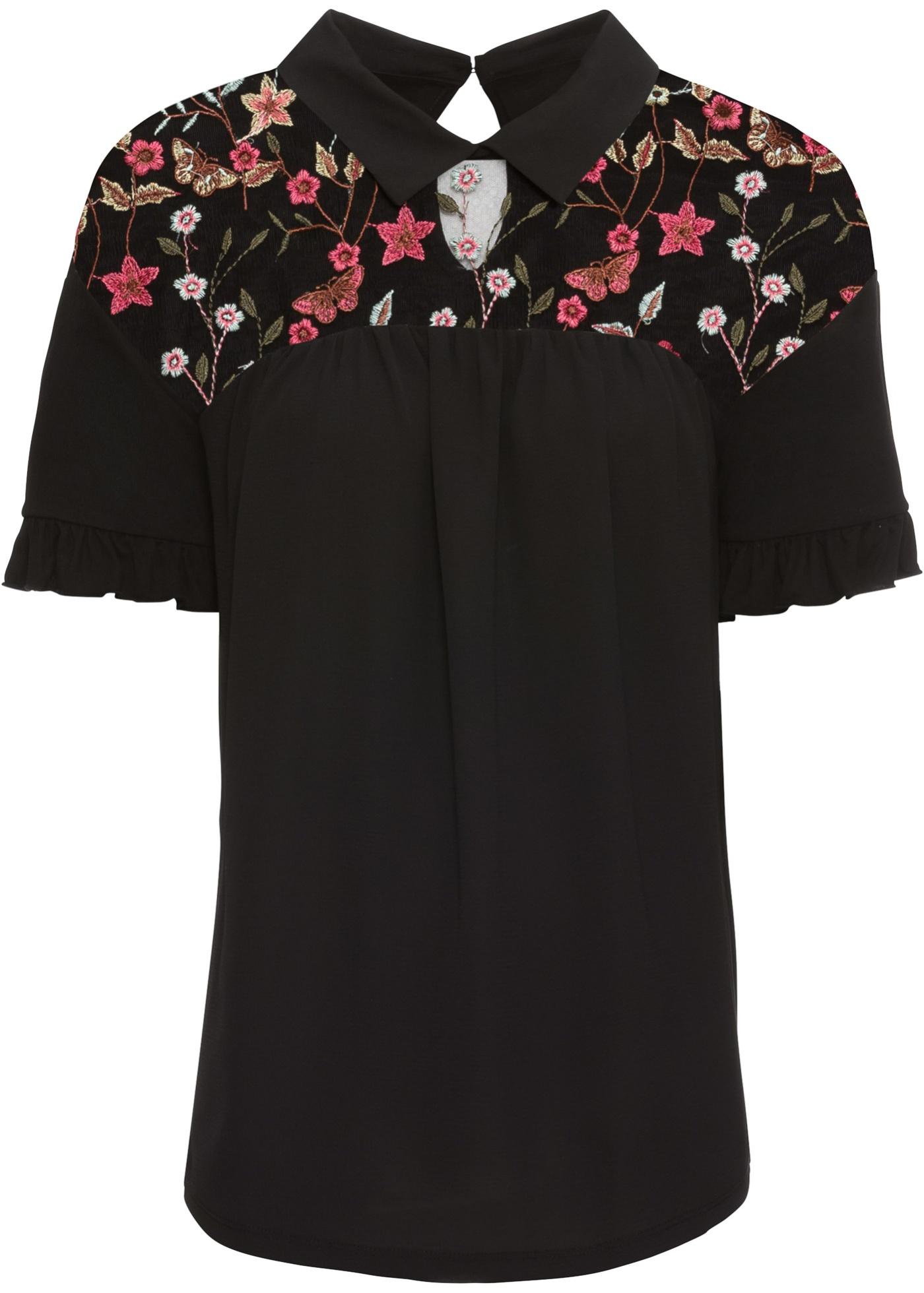 Shirtbluse kurzer Arm  in schwarz für Damen von bonprix
