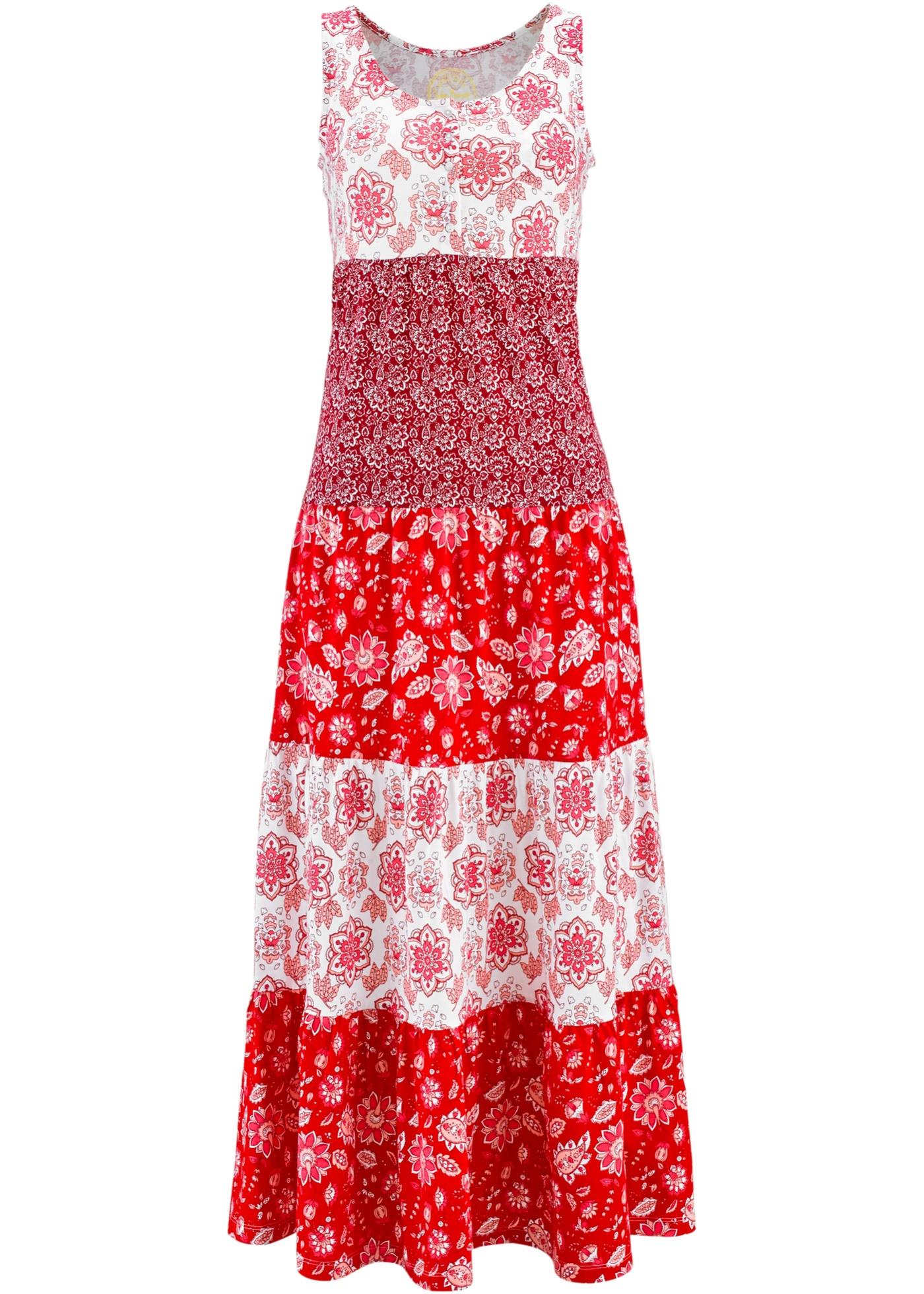 Baumwoll Jerseykleid, lang
