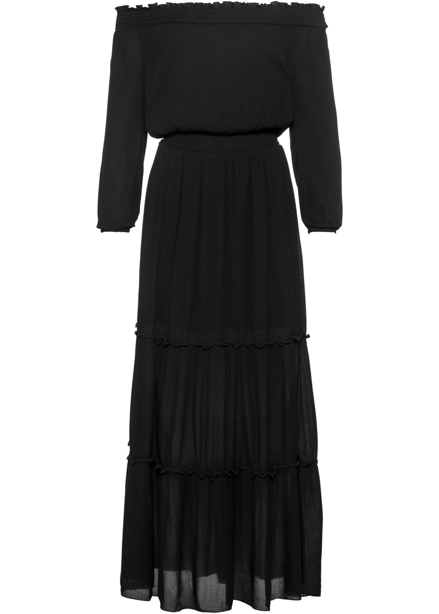 Maxikleid mit Carmenausschnitt in schwarz für Damen von bonprix