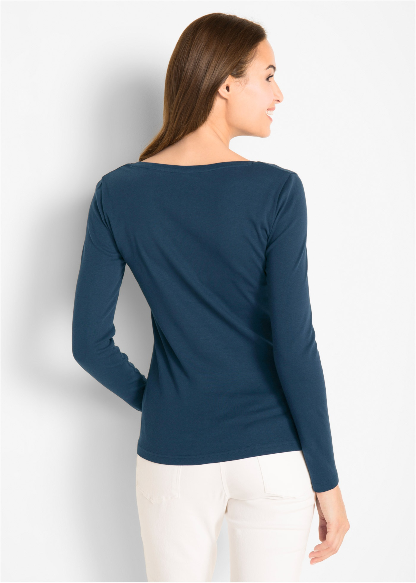 T-shirt col rond en coton, manches longues