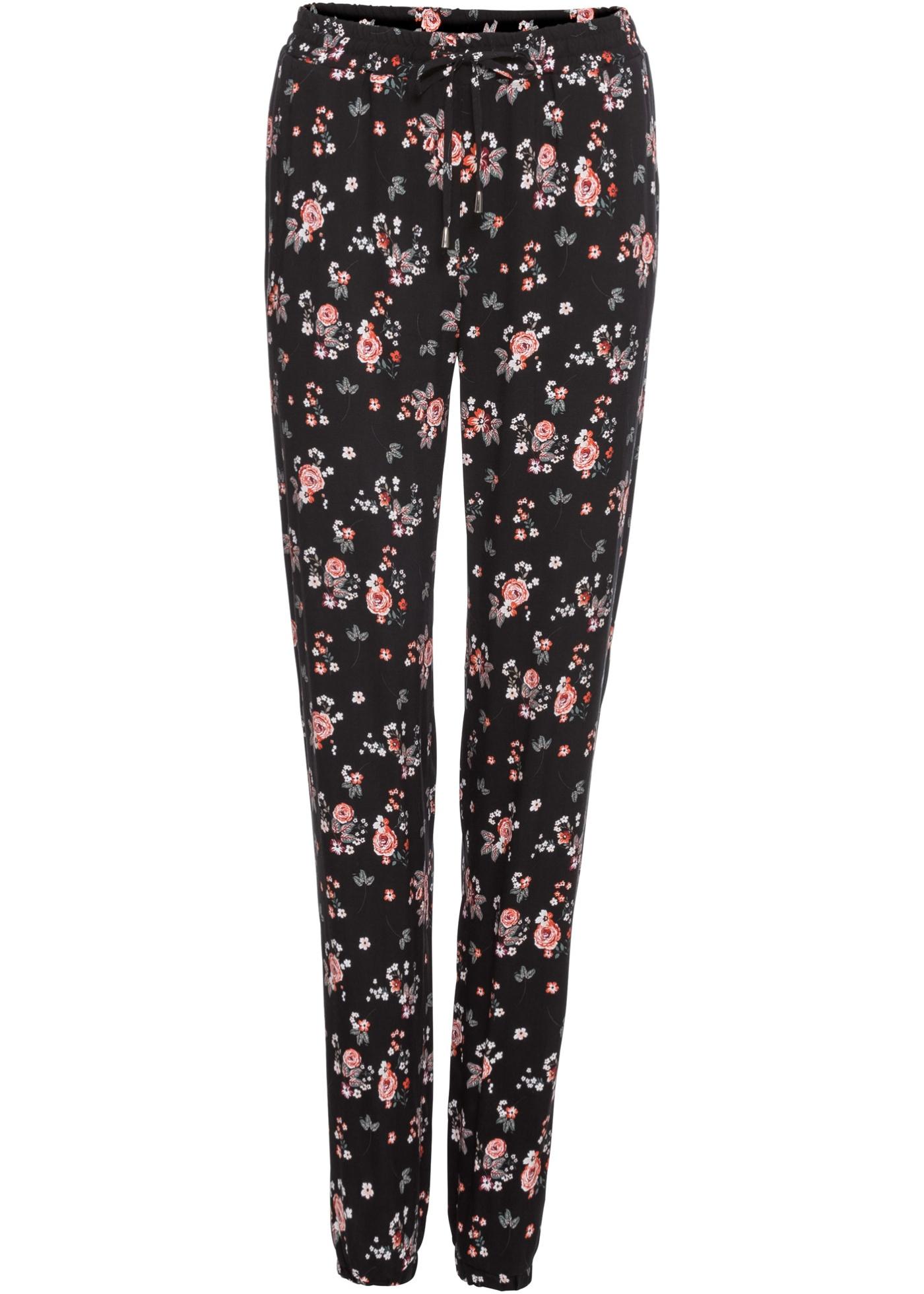 Hosen - Hose mit Blumendruck › bonprix › schwarz  - Onlineshop Bonprix