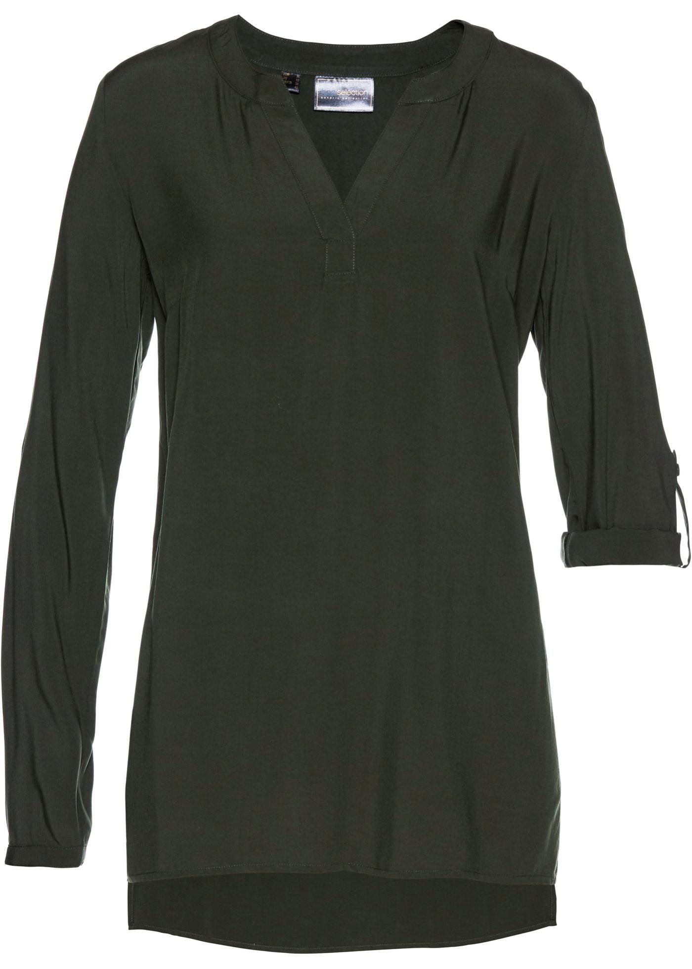 Viskose-Tunika langarm  in grün für Damen von bonprix
