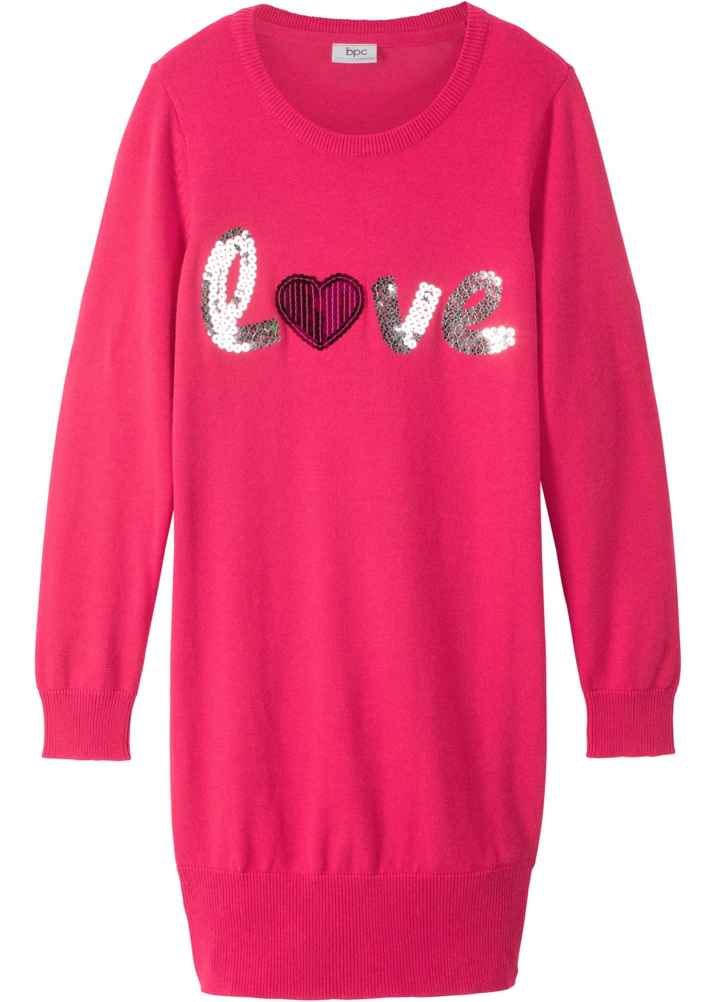 Mädchen,  Kinder bonprix Strickkleid mit Pailletten pink | 08941101087915