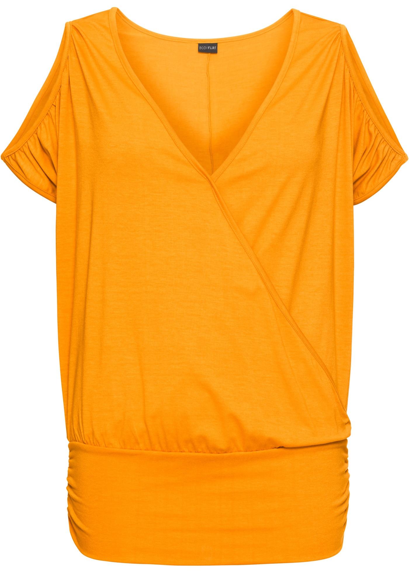 Fledermaus-Shirt kurzer Arm  in gelb für Damen von bonprix