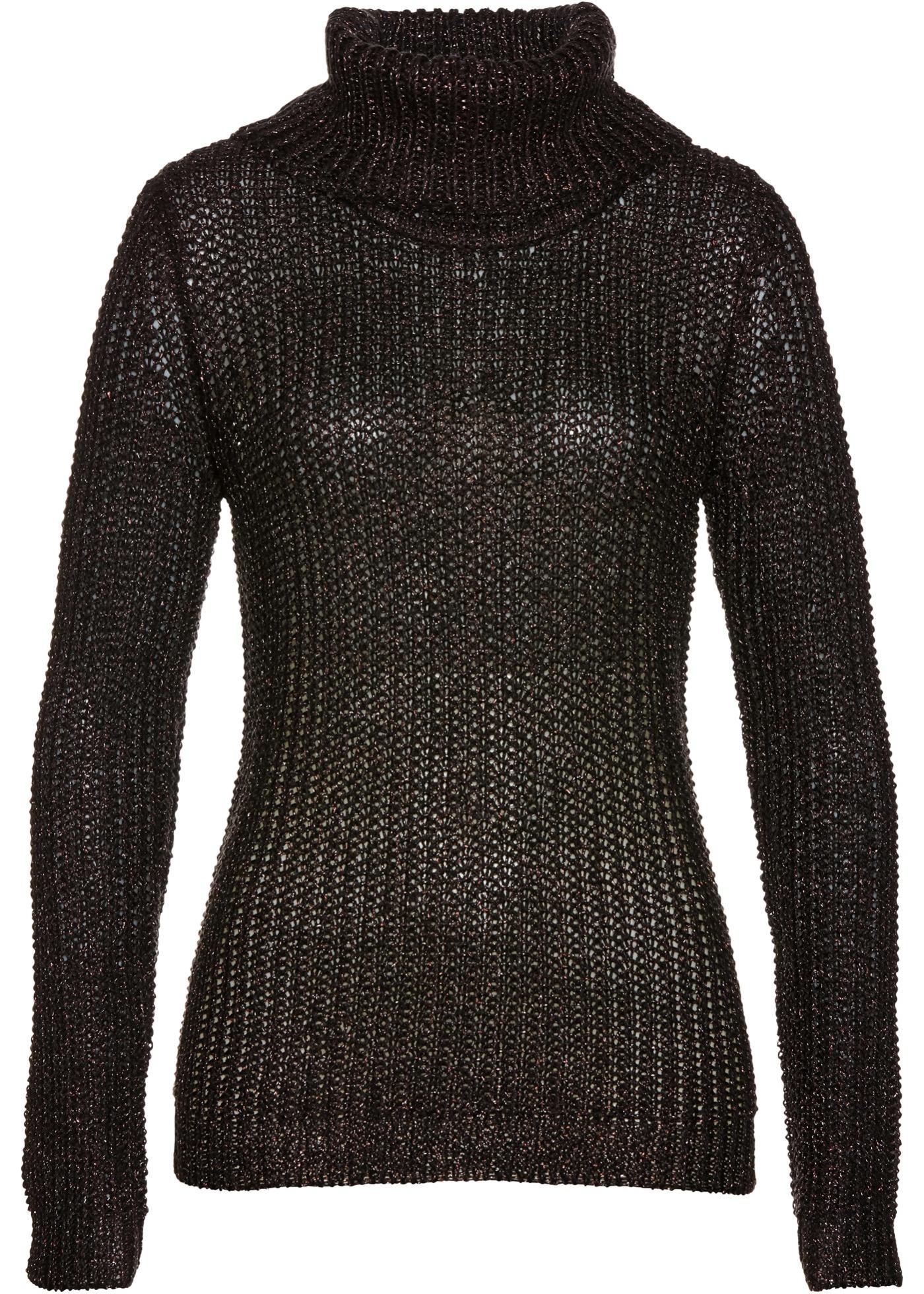 Rollkragenpullover langarm  in schwarz für Damen von bonprix