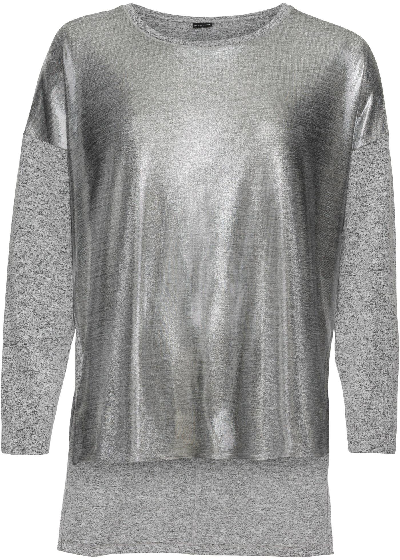 Oversize-Jerseyshirt mit Metallicdruck