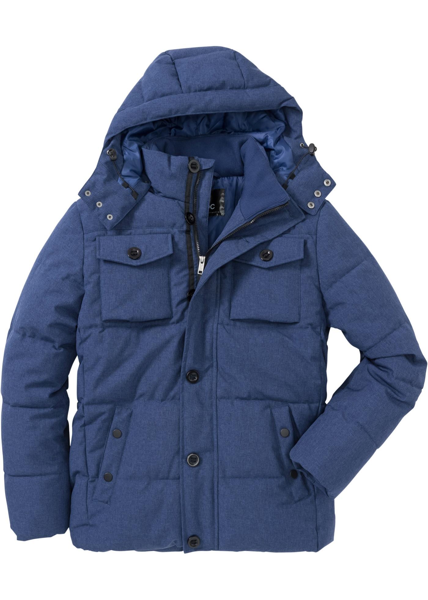 Winter-Steppjacke mit Kapuze langarm  in blau für Herren von bonprix